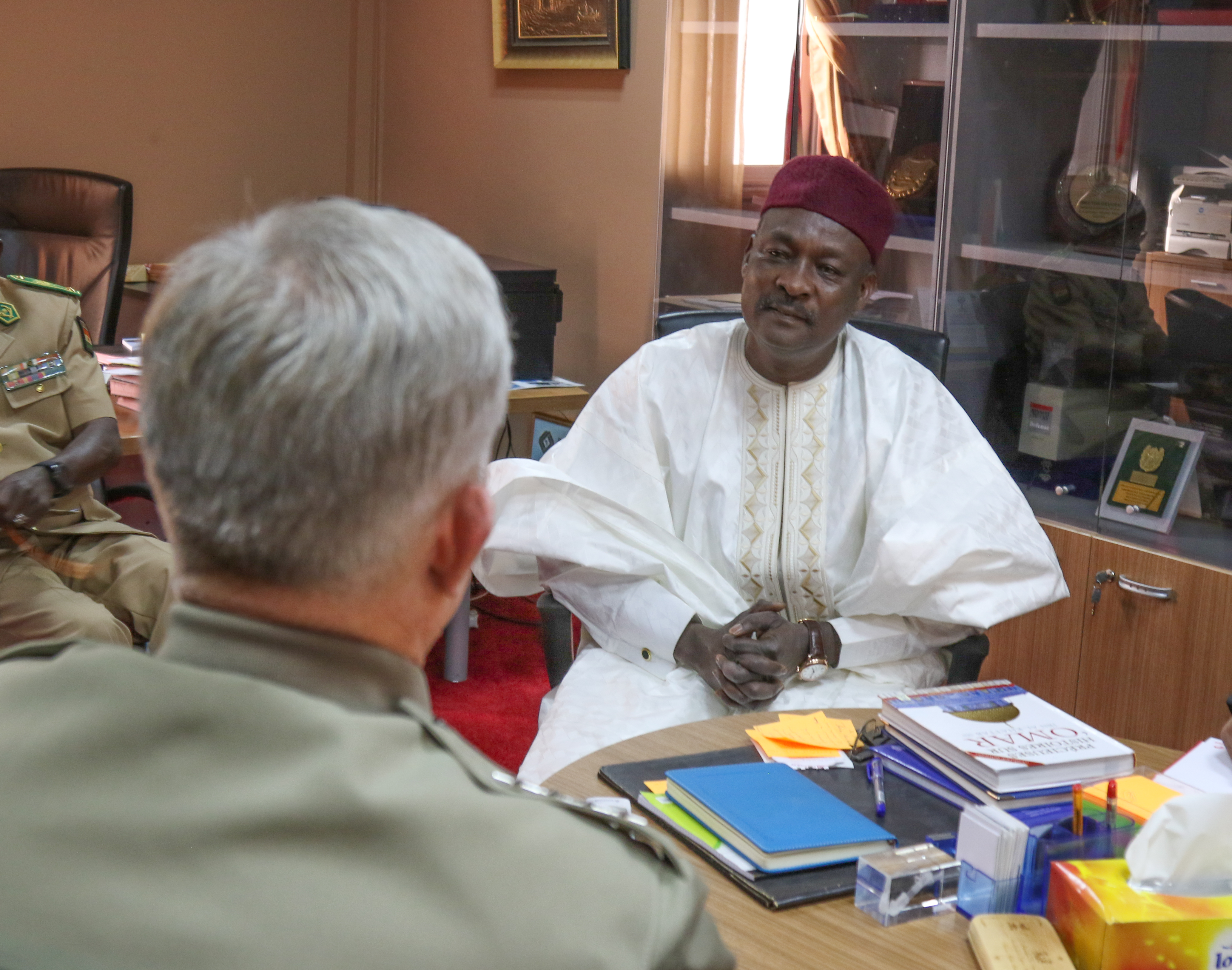 U.S. Marine Corps Gen. Thomas D. Waldhauser, commander, U.S. Africa Command, and Nigerien Minister of Defense Kalla Moutari speak during a meeting Jan. 24, 2018 in Niamey, Niger.
