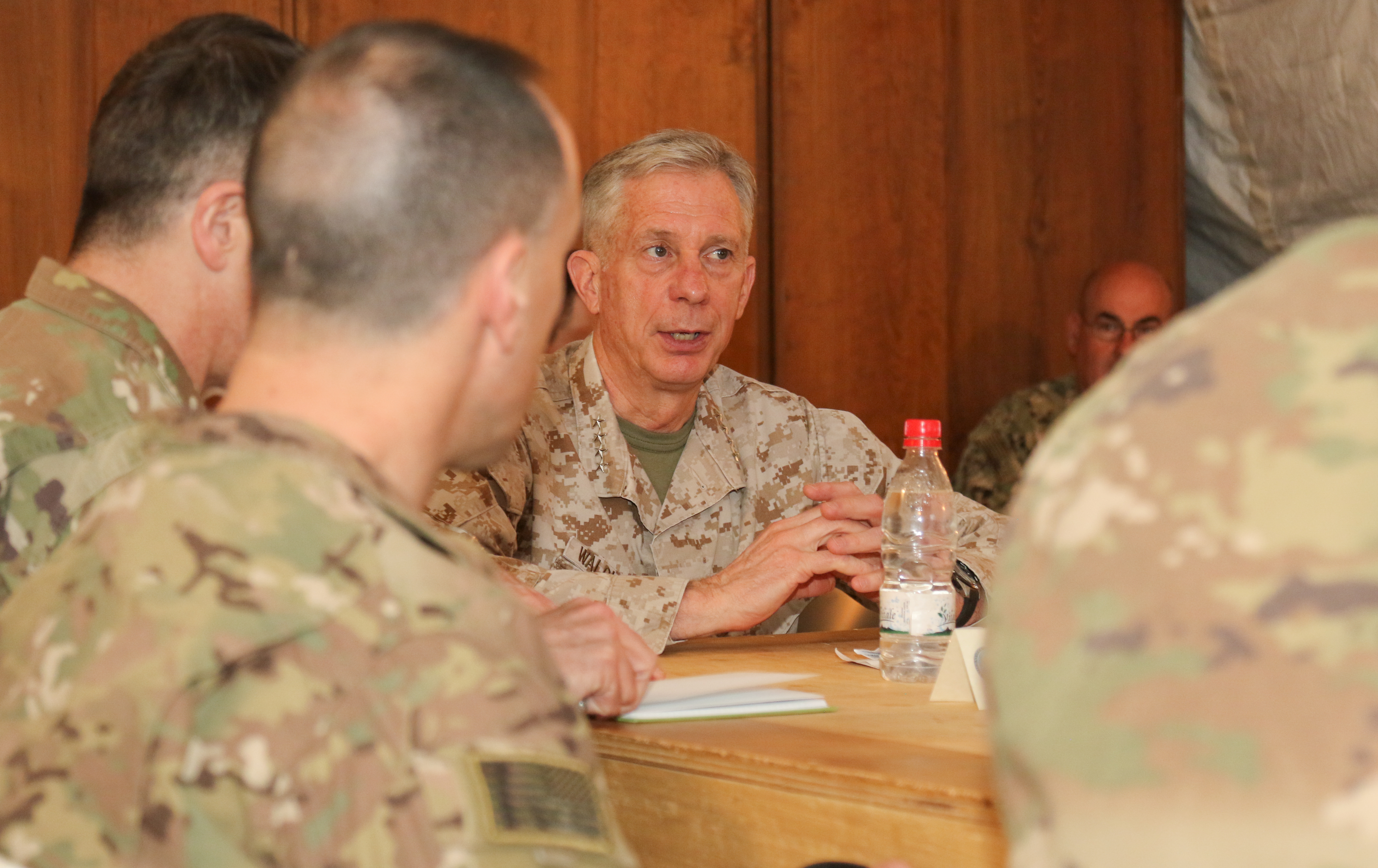 U.S. Marine Corps Gen. Thomas D. Waldhauser, commander, U.S. Africa Command, meets with Air Base 201 leadership in Agadez, Niger Jan. 25, 2018.