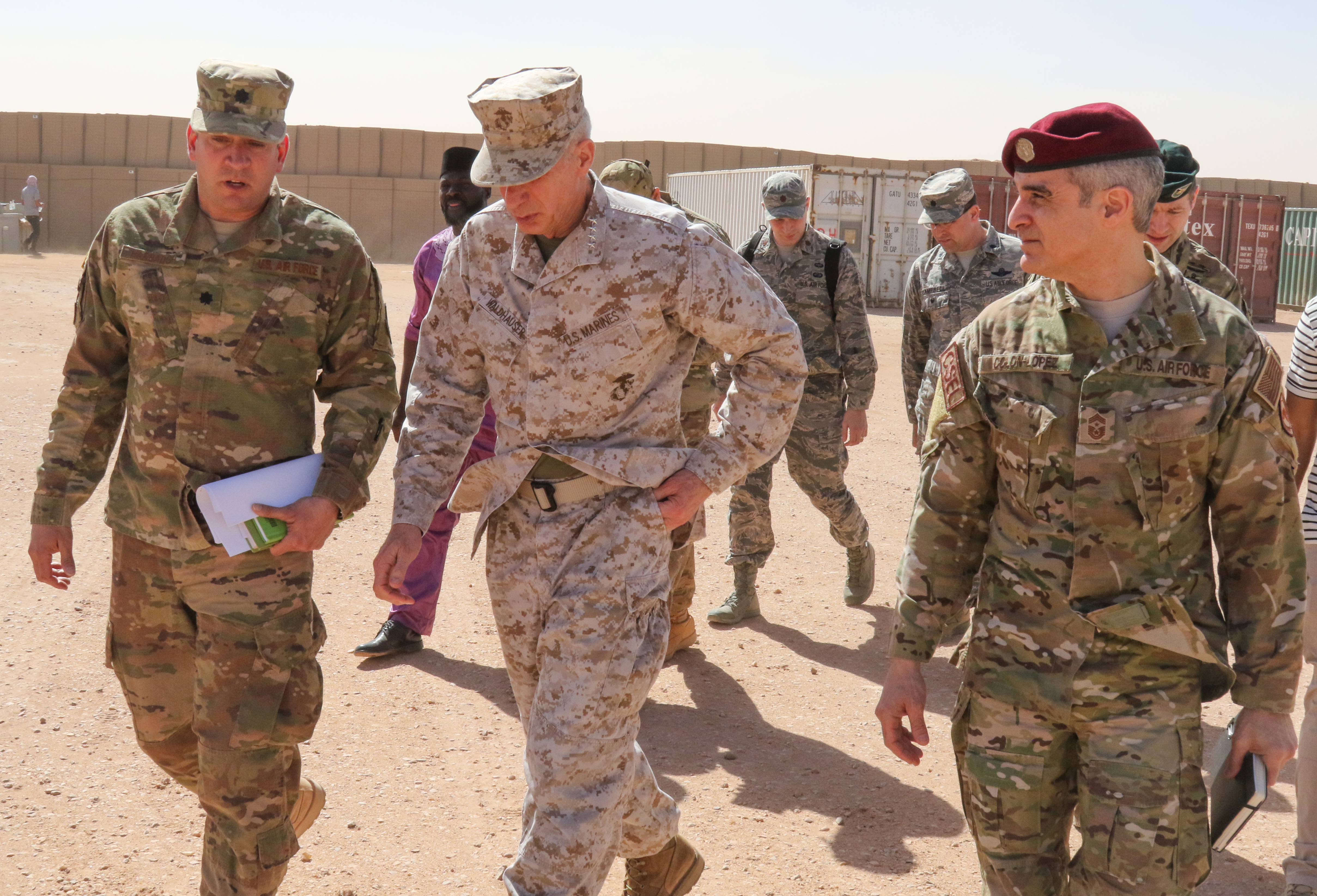 U.S. Marine Corps Gen. Thomas D. Waldhauser, commander, U.S. Africa Command, and U.S. Air Force Chief Master Sgt. Ramon Colon-Lopez, AFRICOM command senior enlisted leader, meet with Air Base 201 leadership during a visit to Agadez, Niger Jan. 25, 2018.