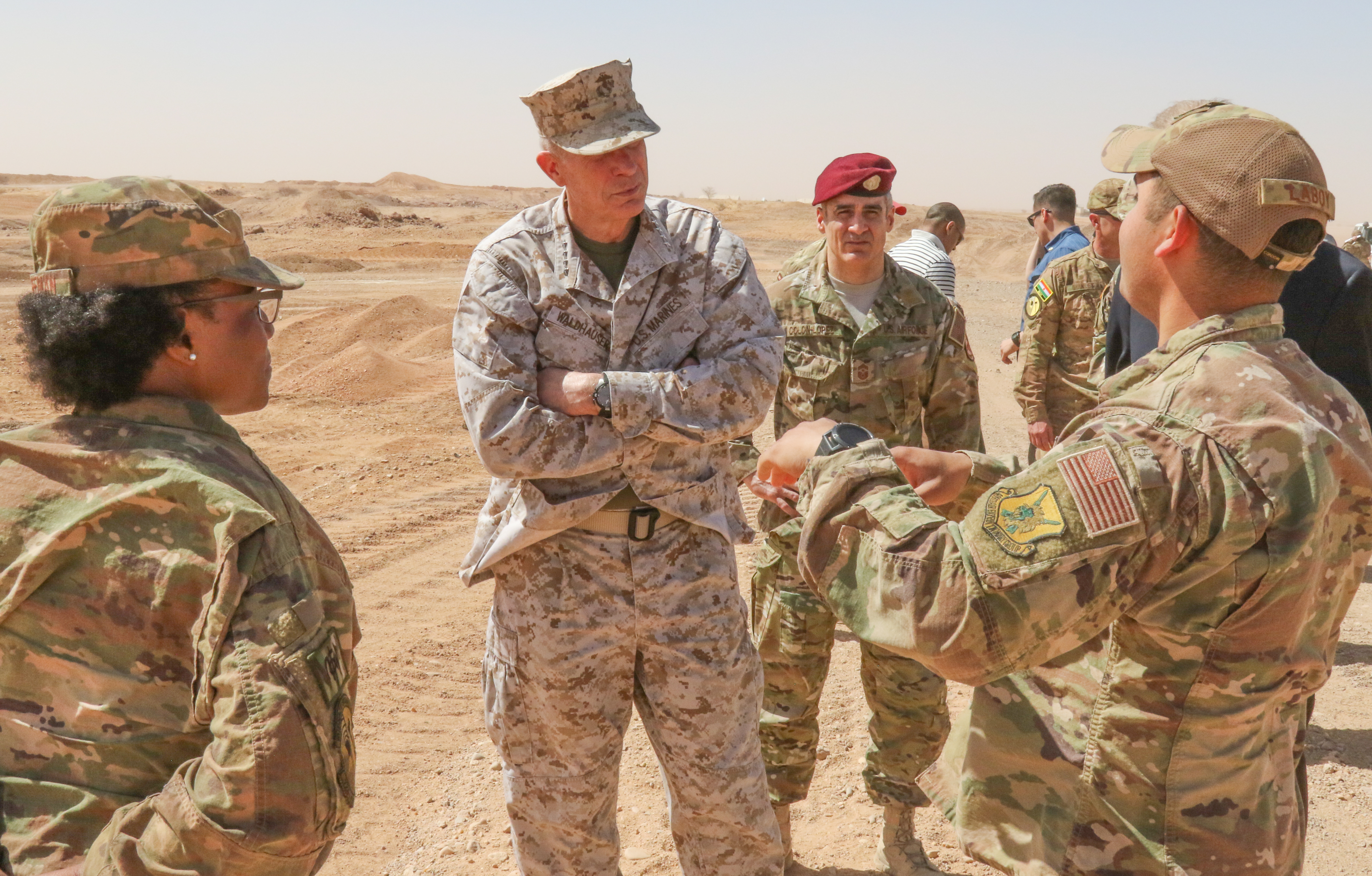 U.S. Marine Corps Gen. Thomas D. Waldhauser, commander, U.S. Africa Command, receives an update on ongoing construction at Air Base 201 in Agadez, Niger Jan. 25, 2018.