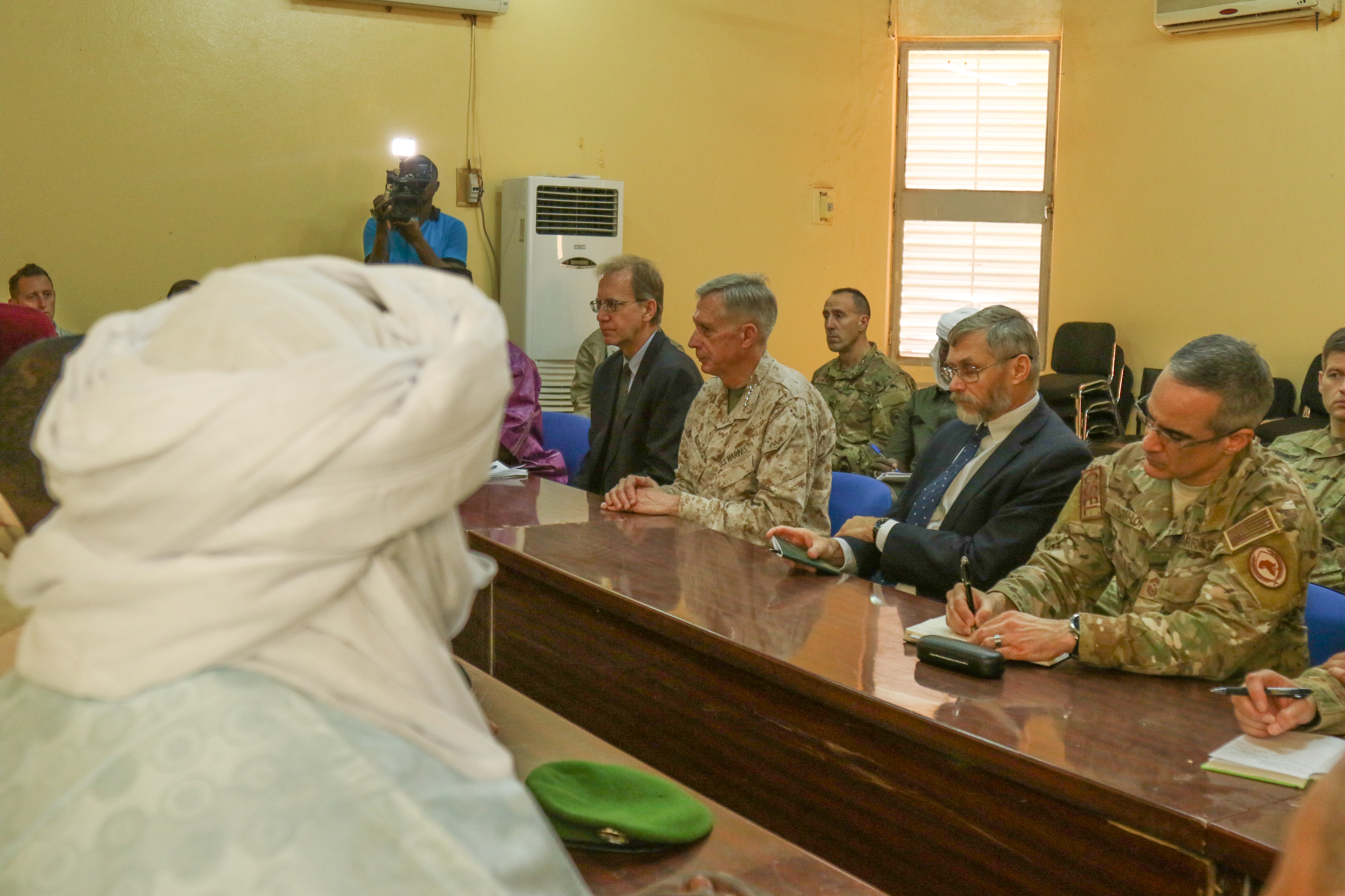 U.S. Marine Corps Gen. Thomas D. Waldhauser, commander, U.S. Africa Command, and other U.S. military officials meet with civic, government, Nigerien military leaders during a visit to Agadez, Niger Jan. 25, 2018.