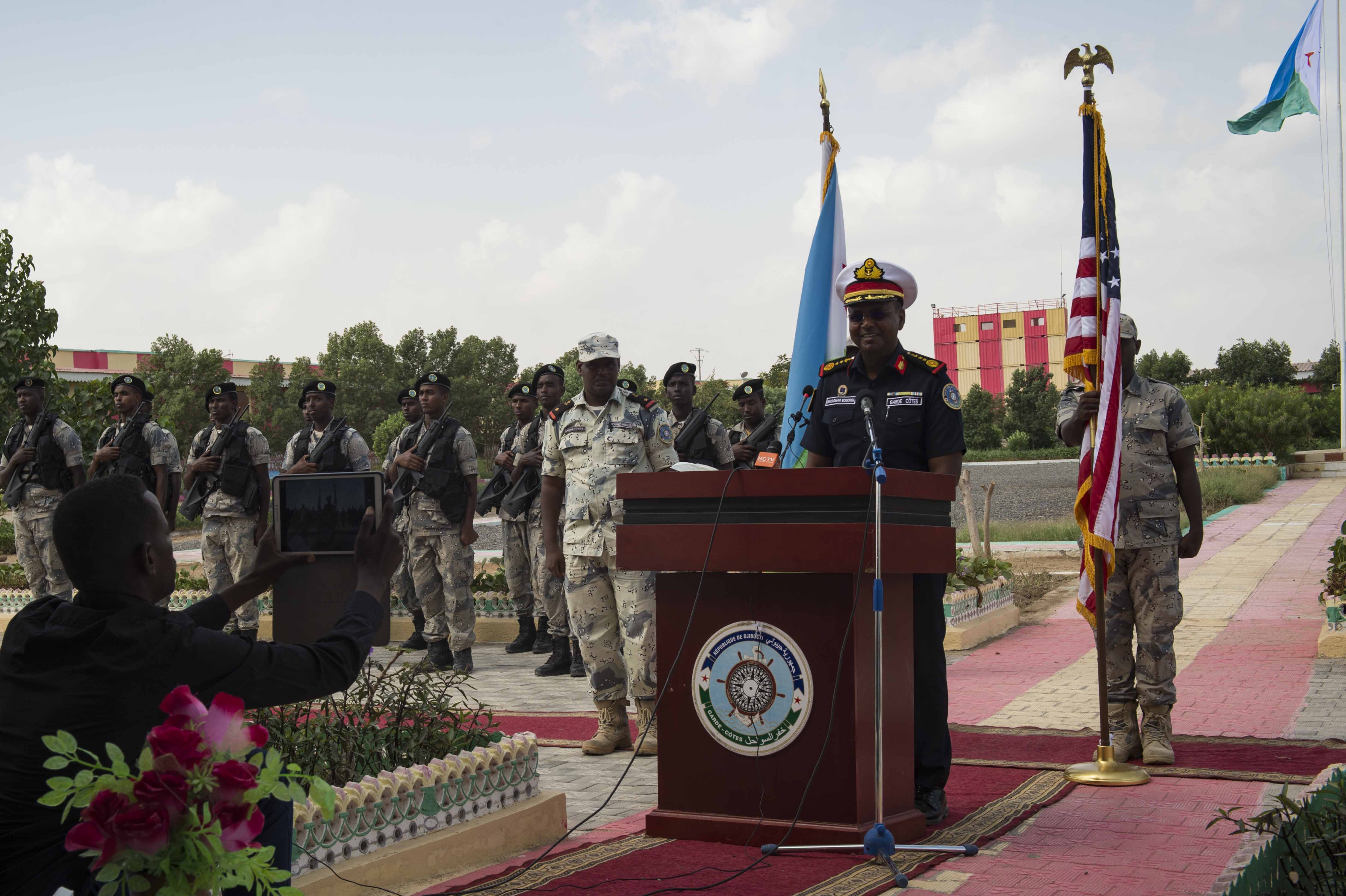 DJIBOUTI, Djibouti (Jan. 31, 2018) Djiboutian Col. Was Omar Bogoreh, commander, Djiboutian Coast Guard, gives remarks during the opening ceremony for exercise Cutlass Express 2018 Jan. 31 in Djibouti, Djibouti. Cutlass Express is designed to improve regional cooperation, maritime domain awareness and information sharing practices to increase capabilities between the U.S., East African and Western Indian Ocean nations. (U.S. Navy photo by Mass Communication Specialist 2nd Class Alyssa Weeks / Released)