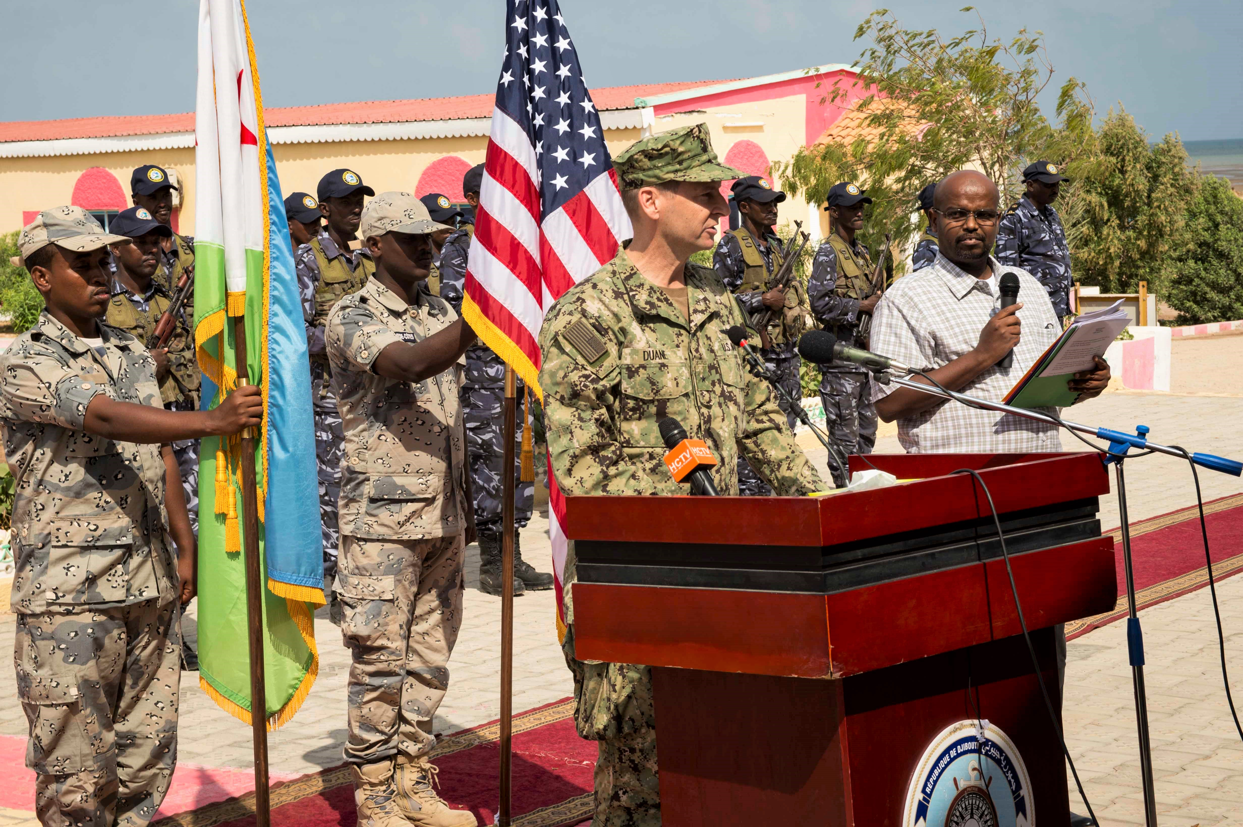 180131-N-KP948-180 DJIBOUTI (Jan. 31, 2018) Rear Adm. Shawn E. Duane, vice commander, U.S. 6th Fleet, gives remarks during the opening ceremony for exercise Cutlass Express 2018 Jan. 31 in Djibouti, Djibouti. Cutlass Express is designed to improve regional cooperation, maritime domain awareness and information sharing practices to increase capabilities between the U.S., East African and Western Indian Ocean nations. (U.S. Navy photo by Mass Communication Specialist 2nd Class Alyssa Weeks / Released)