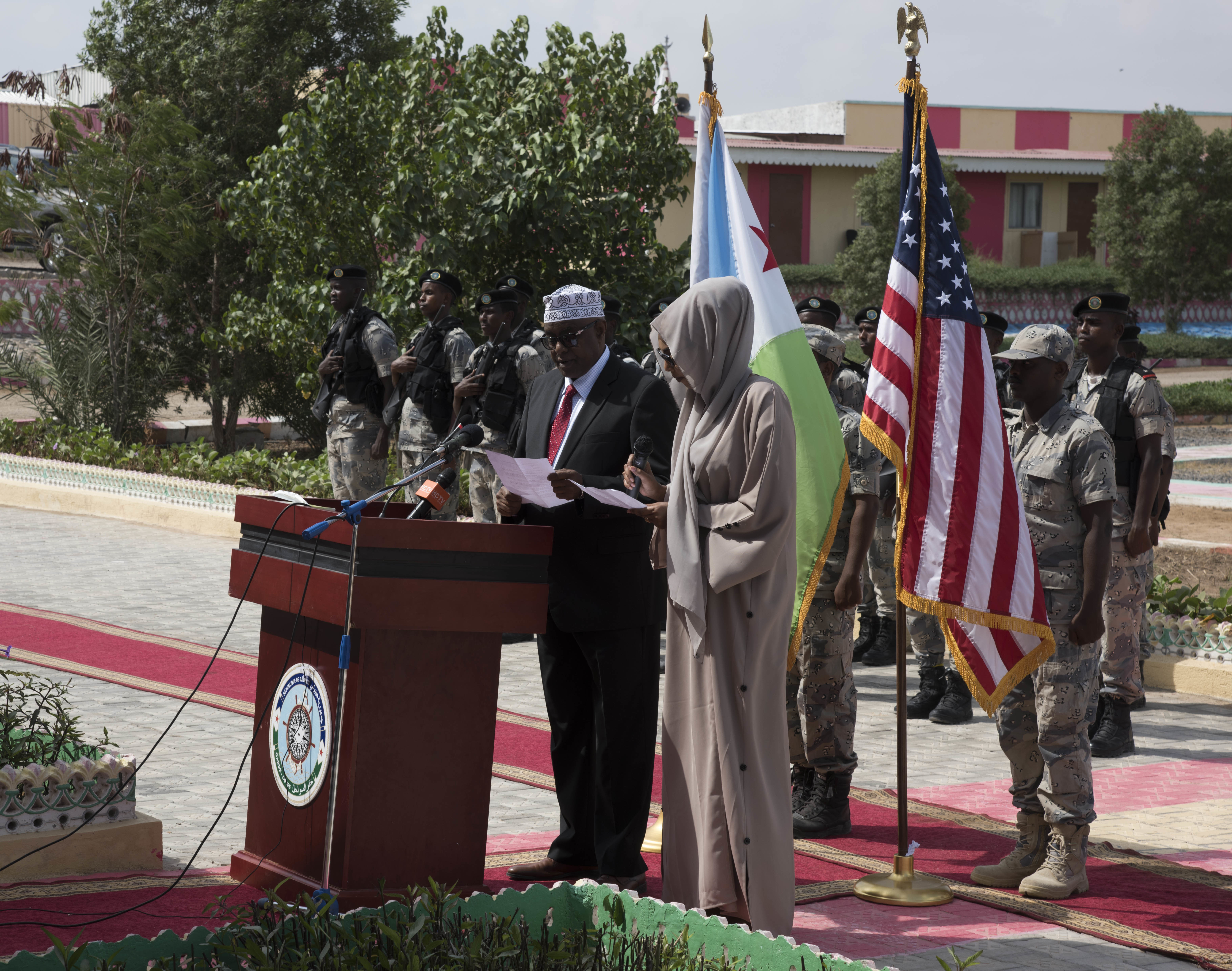 Mohamed Moalin Hassan, state minister for the ministry of internal security, Federal Government of Somalia, gives remarks during the opening ceremony for exercise Cutlass Express 2018 Jan. 31 in Djibouti, Djibouti. Cutlass Express is designed to improve regional cooperation, maritime domain awareness and information sharing practices to increase capabilities between the U.S., East African and Western Indian Ocean nations. (U.S. Air National Guard Photo by SSgt Allyson Manners / Released)
