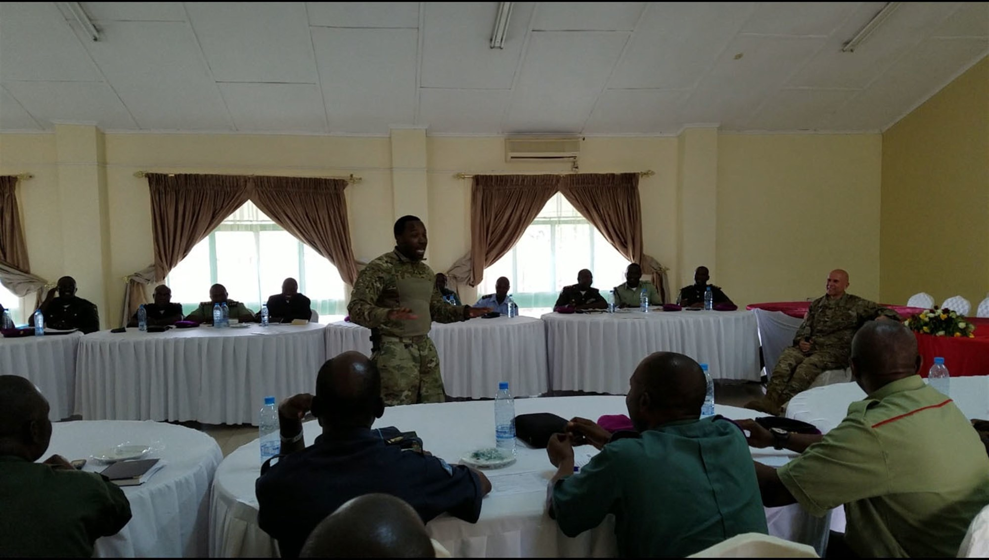 Sgt. 1st Class George L. Butler, the U.S. Army Africa senior religious affairs non-commissioned officer in charge, speaks during a seminar attended by USARAF and Zambian Defense Force chaplains in Lusaka, Zambia, Jan. 23-25, 2018. During the seminar, the chaplains discussed peacekeeping operations deployment cycle support and the emotional and spiritual stresses of combat on the African continent. (U.S. Army photo/Chaplain (Col.) David Lile)