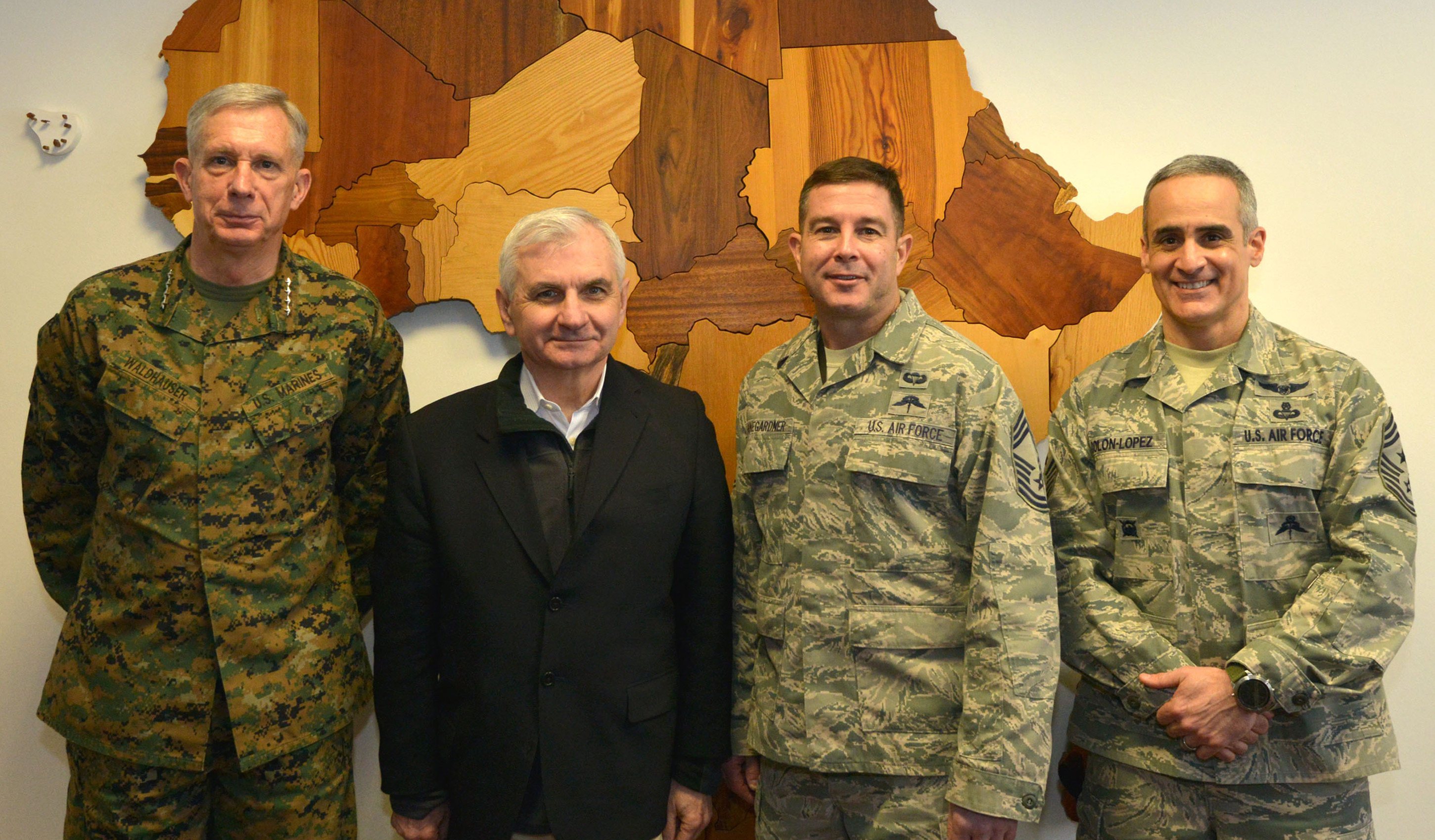 STUTTGART, Germany - U.S. Sen. Jack Reed (D-RI), ranking member, Senate Armed Forces Committee, visited the U.S. Africa Command headquarters in Stuttgart, Germany Feb. 23, 2018. During the visit, he met with senior command leadership and received updates and briefings about AFRICOM's missions and operations.