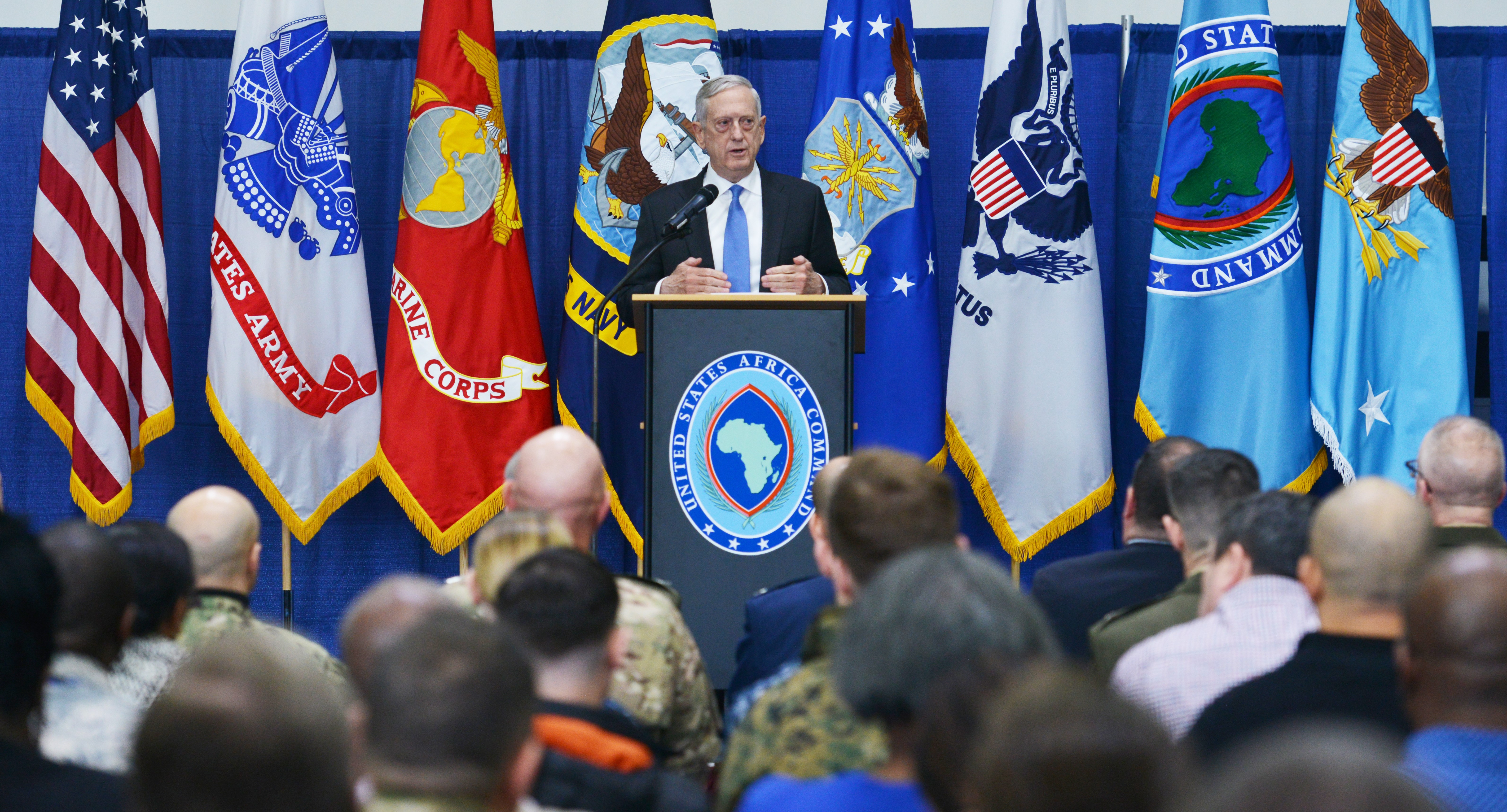 STUTTGART, Germany--Secretary of Defense James Mattis led a town hall meeting with military and civilian members of U.S. Africa Command, at Kelly Fitness Center during his visit to the command headquarters, Feb. 16, 2018. Secretary Mattis held a Q&A session following his address to attendees.  (U.S. Army photo by Staff Sgt. Grady Jones, U.S. AFRICOM Public Affairs