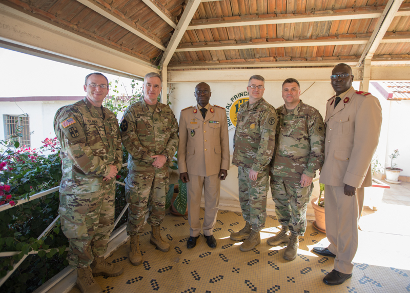U.S. Army and Senegalese leaders pose for a photo following a brief recognition of their partnership during MEDRETE 18-1, Feb. 22, 2018, at Hopital Principal De Dakar, Dakar, Senegal. MEDRETE is a combined effort between the Senegalese government, U.S. Army Africa, and the Vermont National Guard. MEDRETE 18-1 is the first in a series of medical readiness training exercises that U.S. Army Africa is scheduled to facilitate within various countries in Africa, and serves as an opportunity for the partnered militaries to hone and strengthen their general surgery and trauma skills while reinforcing the partnership between the countries. The mutually beneficial exercise brings together Senegalese military and U.S. Army medical professionals to foster cooperation while conducting medical specific tasks. (U.S. Army photo by Sgt. Micah Merrill)