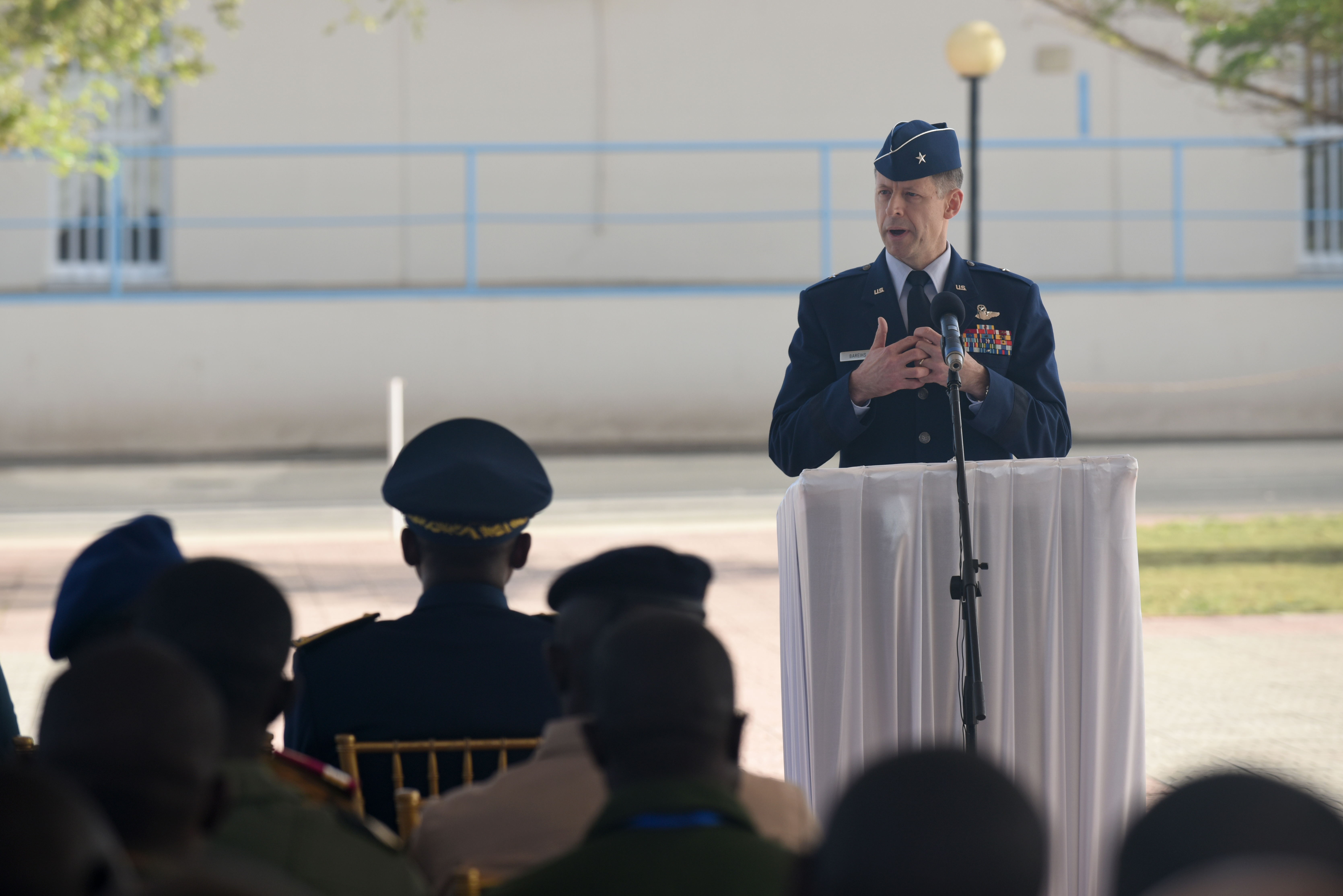 U.S. Air Force Brig. Gen. Dieter Bareihs, U.S. Air Forces in Africa director of plans, programs and analyses, speaks during the opening ceremony of African Partnership Flight Senegal at Captain Andalla Cissé Air Base, Senegal, March 19, 2018. The APF program is U.S. Air Forces in Africa's premier security cooperation program with African partner nations to improve professional military aviation knowledge and skills. (U.S. Air Force photo by Airman 1st Class Eli Chevalier)