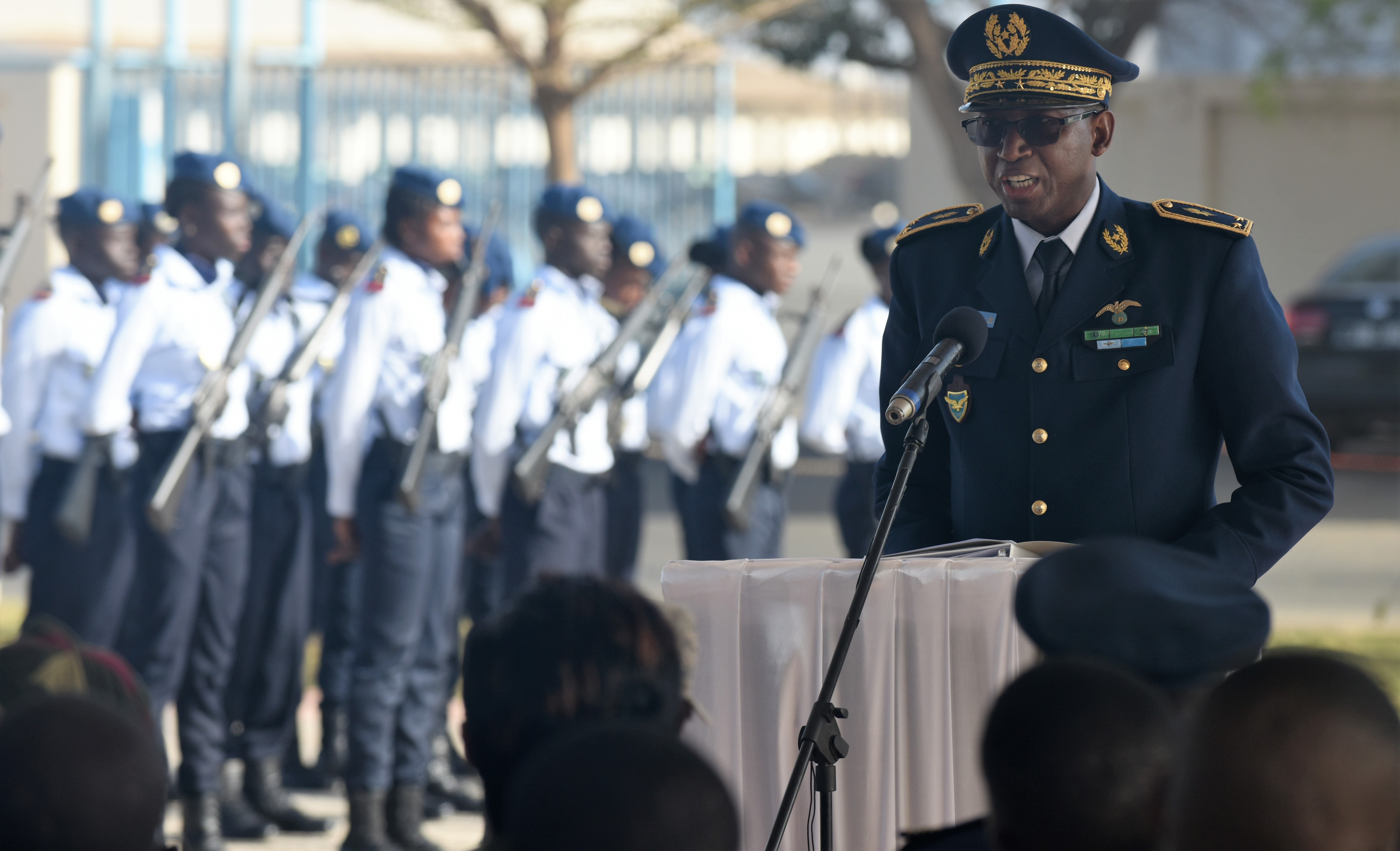 Senegalese Brig. Gen. Joseph Diop, Senegal air force Chief of Staff, speaks during the opening ceremony of African Partnership Flight Senegal at Captain Andalla Cissé Air Base, Senegal, March 19, 2018. The purpose of APF Senegal is to conduct multilateral, military-to-military engagements and security assistance with African air forces. (U.S. Air Force photo by Airman 1st Class Eli Chevalier)