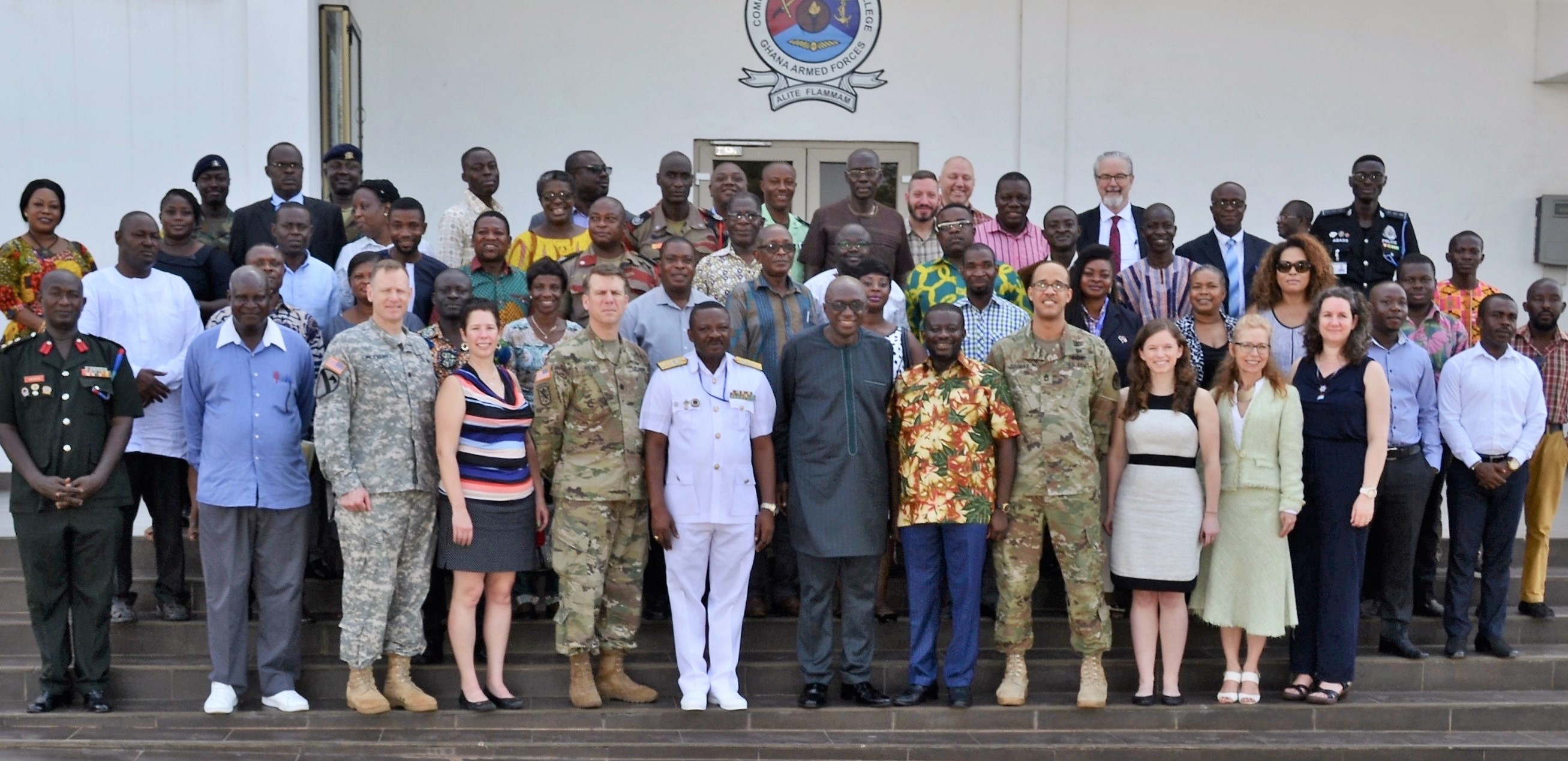 U.S. Africa Command and Ghana's National Disaster Management Organization (NADMO) co-sponsored a natural disaster response forum in Accra.  The event brought together experts in disaster management from multiple organizations in Ghana and the U.S. and was conducted at the Ghana Armed Forces Command and Staff College, March 12-15, 2018. (U.S. AFRICOM photo by Robin Cromer)