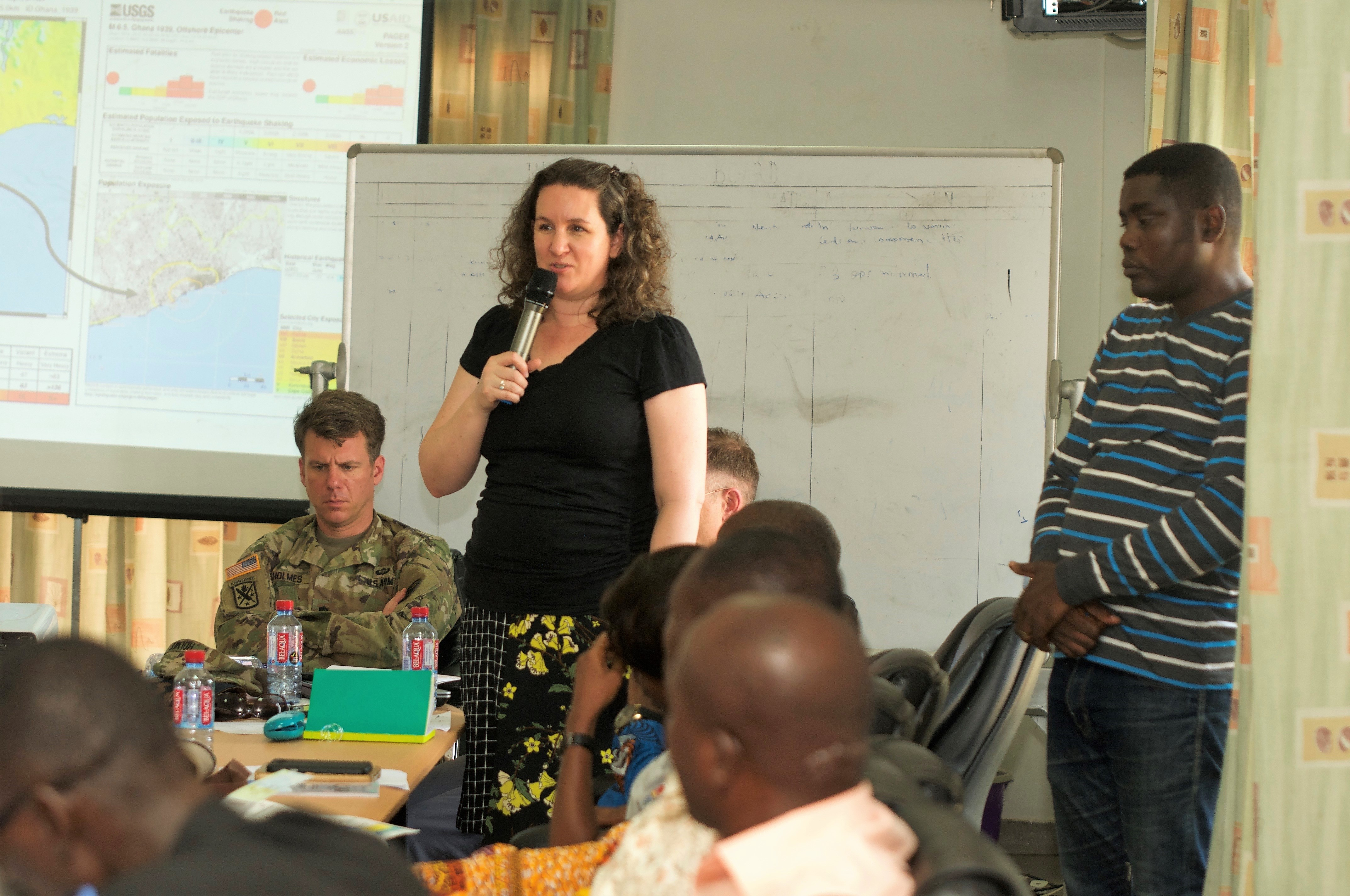 U.S. Africa Command Foreign Policy Advisor Robin Cromer discusses embassy coordination during a tabletop exercise. AFRICOM and Ghana's National Disaster Management Organization (NADMO) co-sponsored a natural disaster response forum in Accra.  The event brought together experts in disaster management from multiple organizations in Ghana and the U.S. and was conducted at the Ghana Armed Forces Command and Staff College, March 12-15, 2018. (U.S. AFRICOM photo)