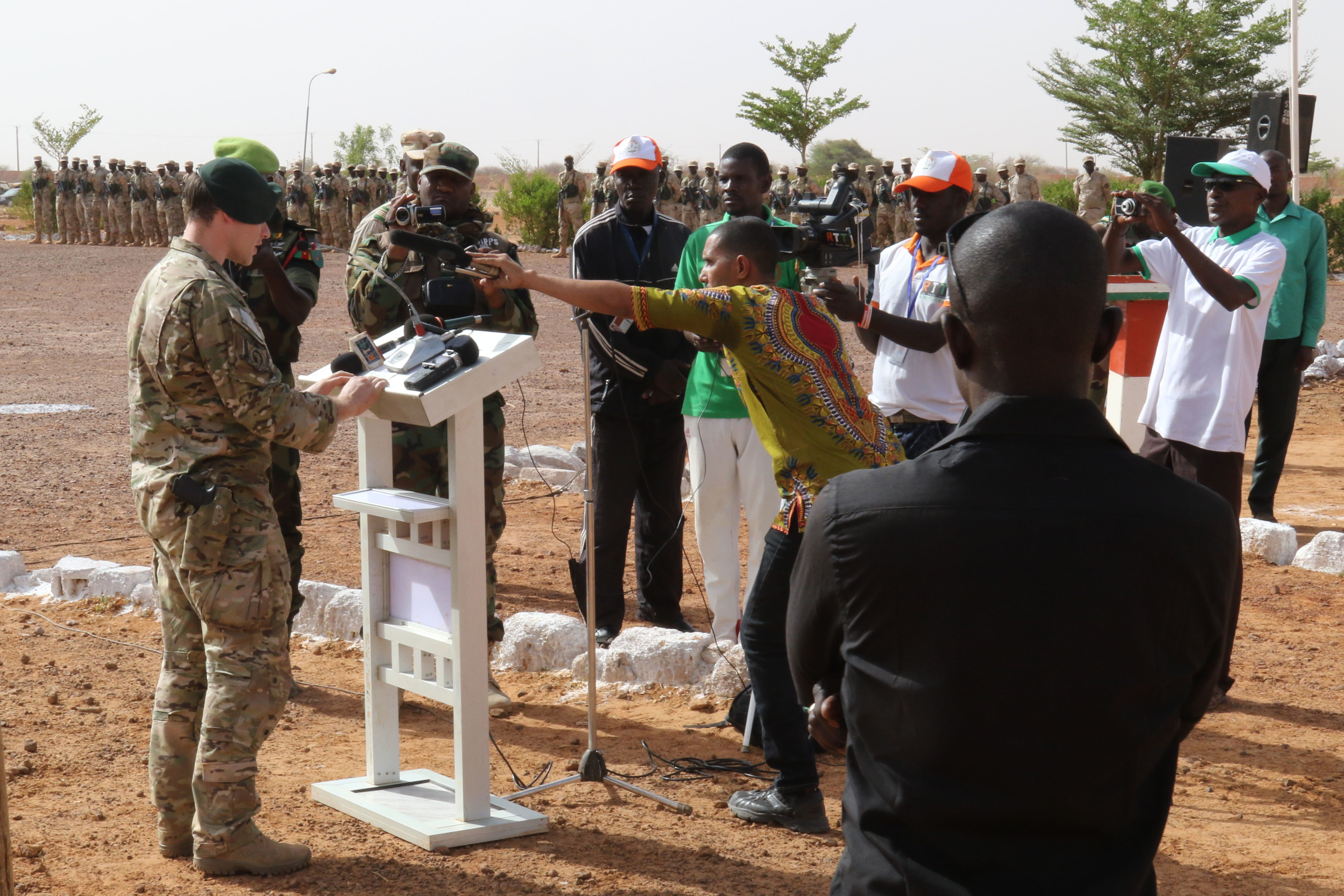 TAHOUA, Niger - Capt. Neal a U.S. Army Special Forces Operational Detachment – Alpha Commander in 3rd Special Forces Group (Airborne), addresses dignitaries during the Tahoua opening ceremony of Flintlock 2018 April 11, 2018. Flintlock 2018, hosted by Niger, with key outstations at Burkina Faso and Senegal, is designed to strengthen the ability of key partner nations in the region to counter violent extremist organizations, protect their borders, and provide security for their people. (U.S. Army photo by Staff Sgt. Kulani Lakanaria/RELEASED)