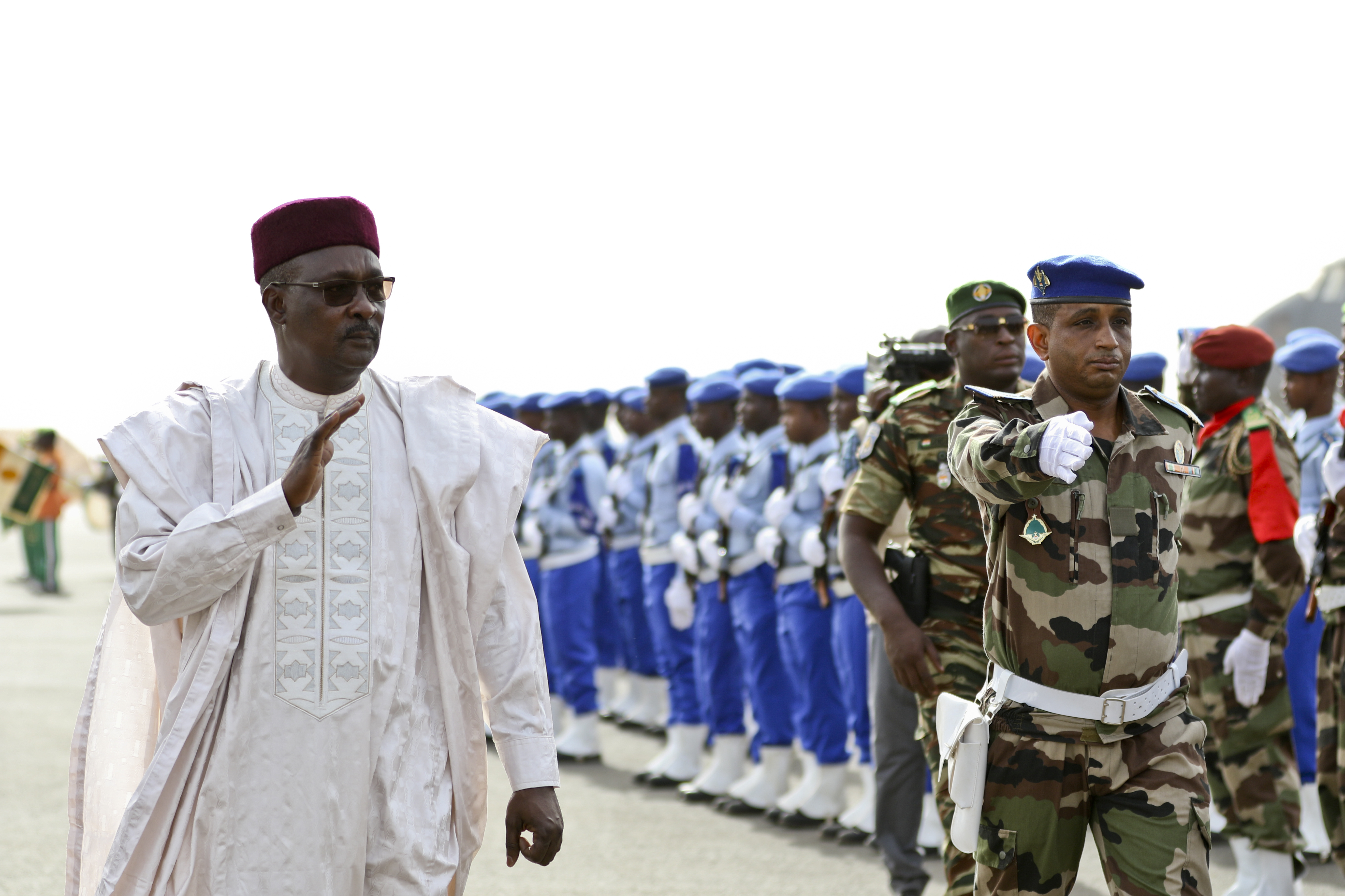 NIAMEY, Niger – Moutari Kalla, Nigerien Minister of Defense, inspects the troops to start off the opening ceremony of Flintlock 2018 in Niamey, Niger, April 11, 2018. Approximately 1,900 service members from more than 20 African and western partner nations are participating in Flintlock 2018 at multiple locations in Niger, Burkina Faso, and Senegal. (U.S. Army Photo by Sgt. Heather Doppke/79th Theater Sustainment Command)