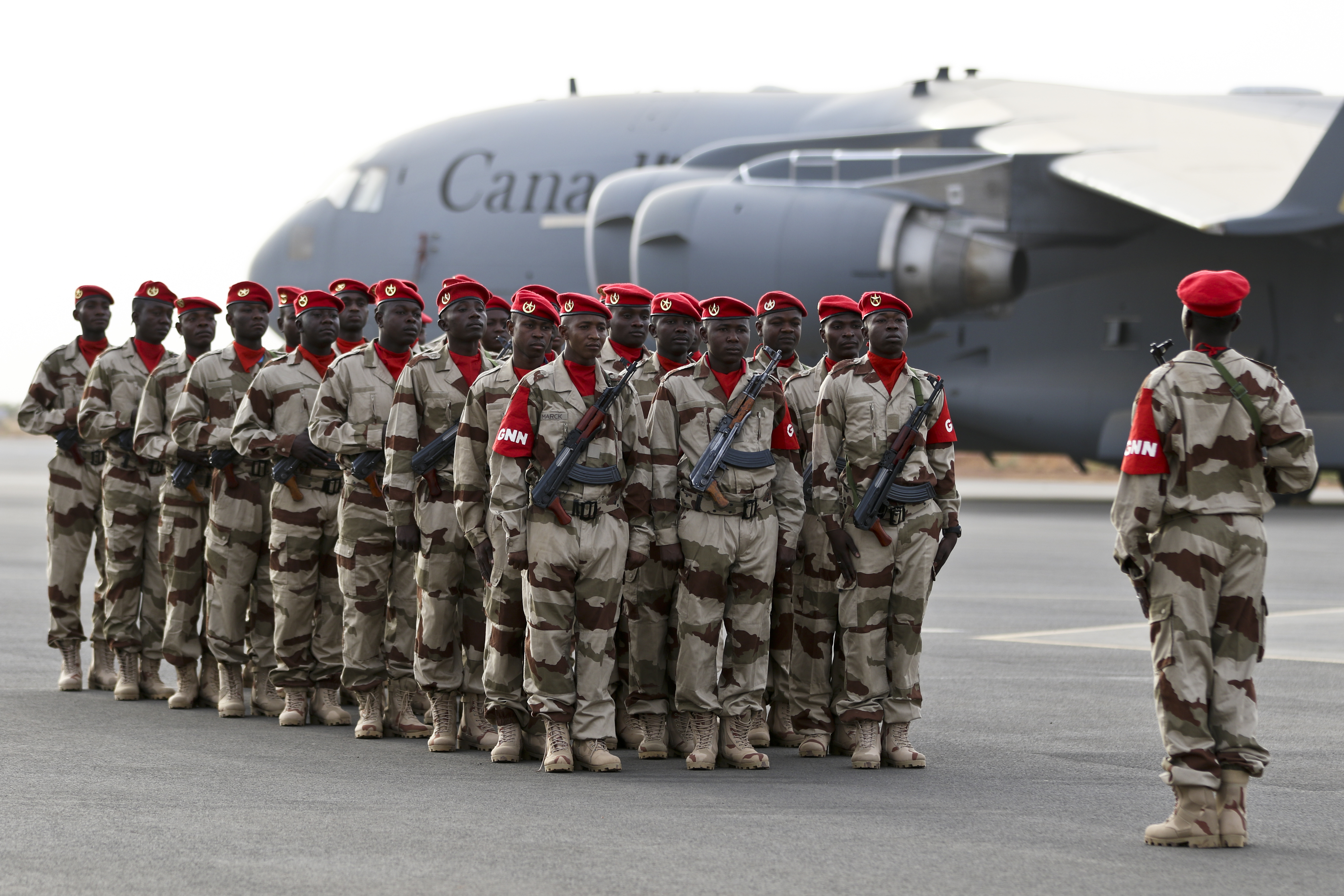 NIAMEY, Niger – Nigerien troops stand in formation prior to the start of the opening ceremony of Flintlock 2018 in Niamey, Niger, April 11, 2018. Flintlock is an annual, African-led, integrated military and law enforcement exercise that has strengthened key partner nation forces throughout North and West Africa as well as western Special Operations Forces since 2005. (U.S. Army Photo by Sgt. Heather Doppke/79th Theater Sustainment Command)