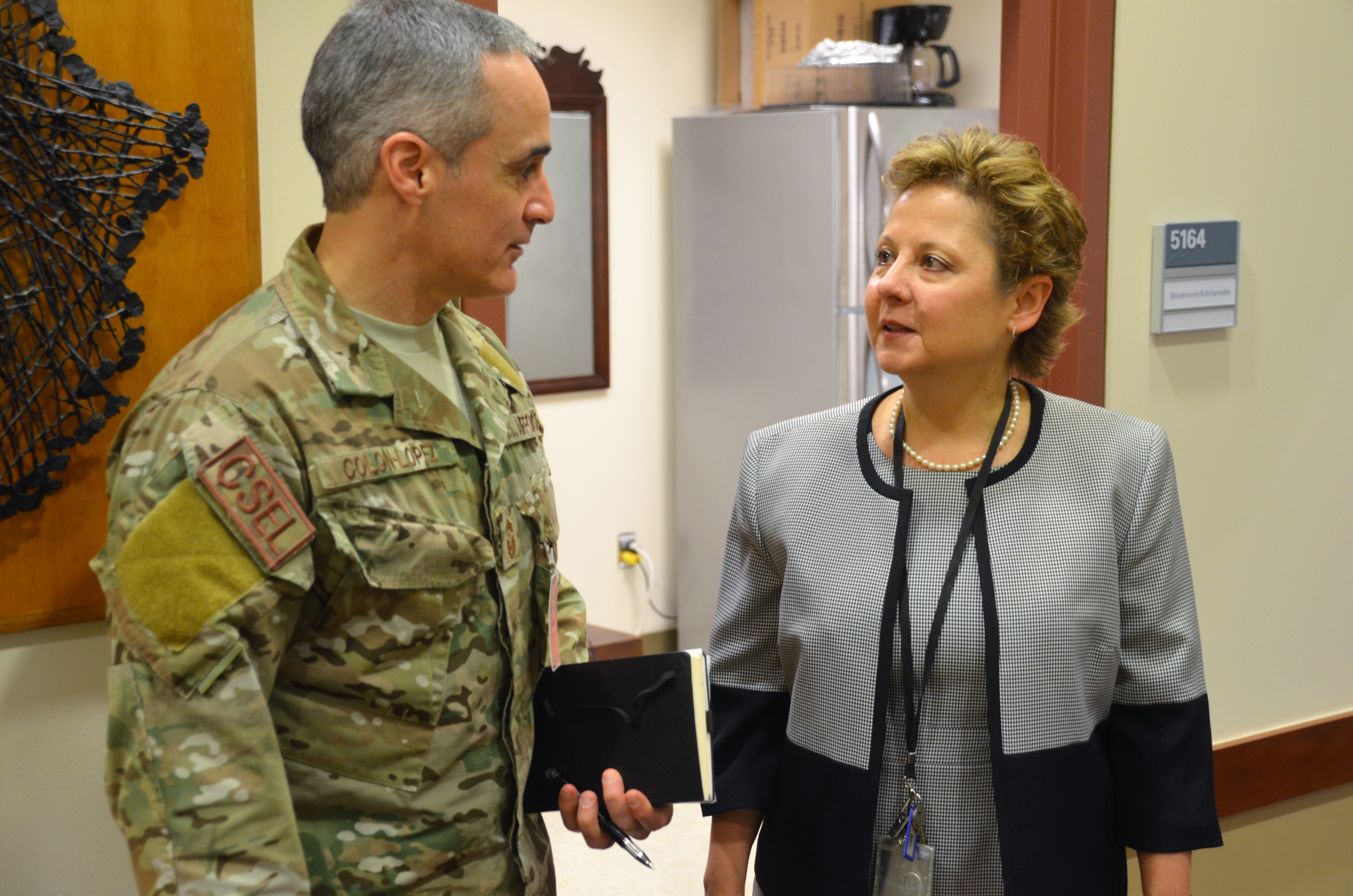 "U.S. Africa Command senior enlisted advisor, Chief Master Sgt. Ramon ""CZ"" Colon-Lopez, met with U.S. Ambassador to Liberia, during a visit to the U.S. Embassy there, April 2, 2018. The engagement was a part of a site to Liberia to meet with Liberia's military leadership in order to foster partnership between AFRICOM and the Armed Forces of Liberia, following the close of the United Nations Peacekeeping Mission in Liberia, after nearly 15 years in operation. (Photo by Army Staff Sgt. Grady Jones, AFRICOM Public Affairs)"