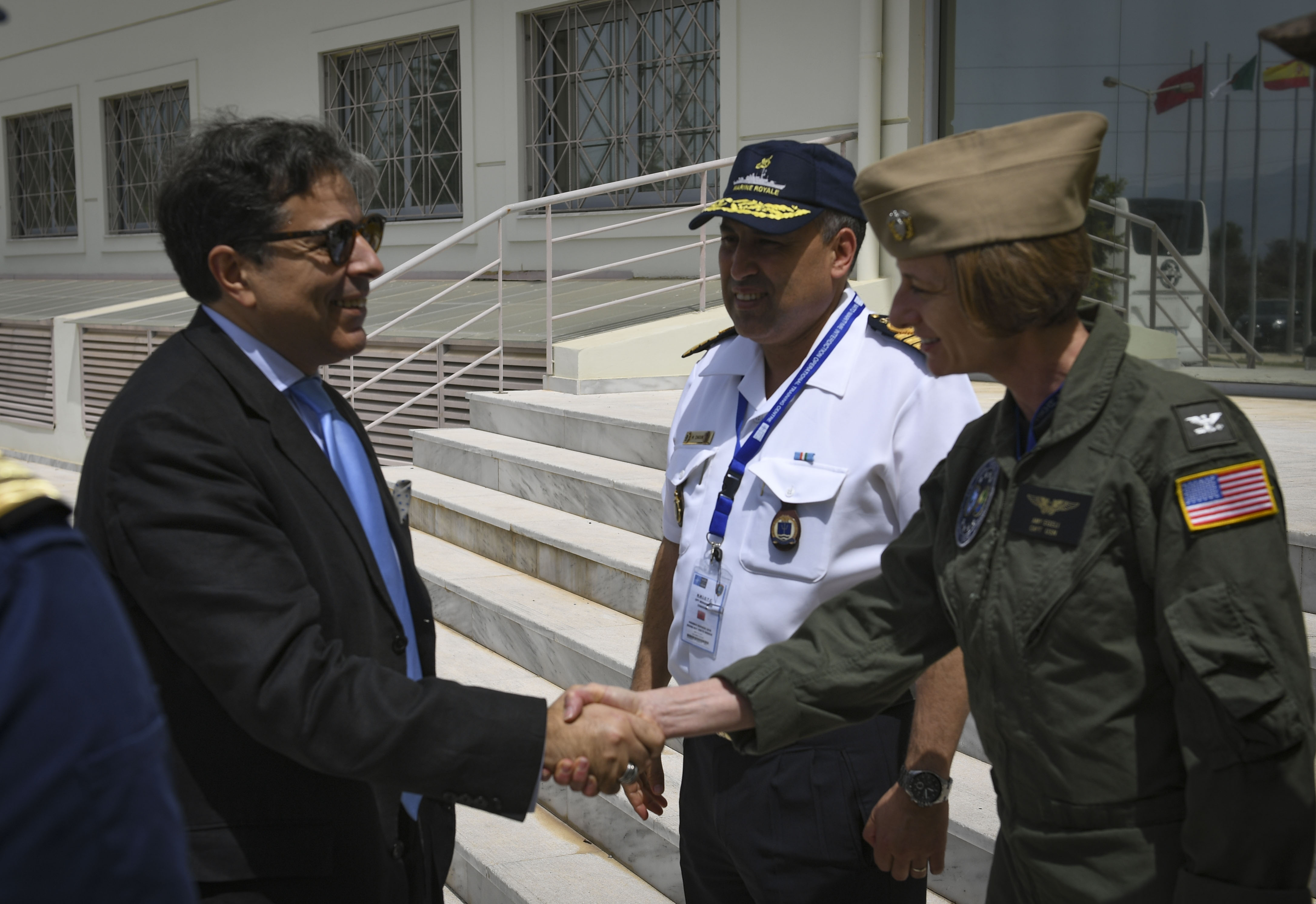 SOUDA BAY, Greece (April 30, 2018) Ambassador of the People's Democratic Republic of Algeria to Greece, Noureddine Bardad-Daidj, arrives in Souda Bay, Greece, for exercise Phoenix Express 2018, April 30.  Phoenix Express is sponsored by U.S. Africa Command and facilitated by U.S. Naval Forces Europe-Africa/U.S. 6th Fleet, and is designed to improve regional cooperation, increase maritime domain awareness information sharing practices, and operational capabilities to enhance efforts to achieve safety and security in the Mediterranean sea. (U.S. Navy photo by Mass Communication Specialist 2nd Class Ryan U. Kledzik/Released)