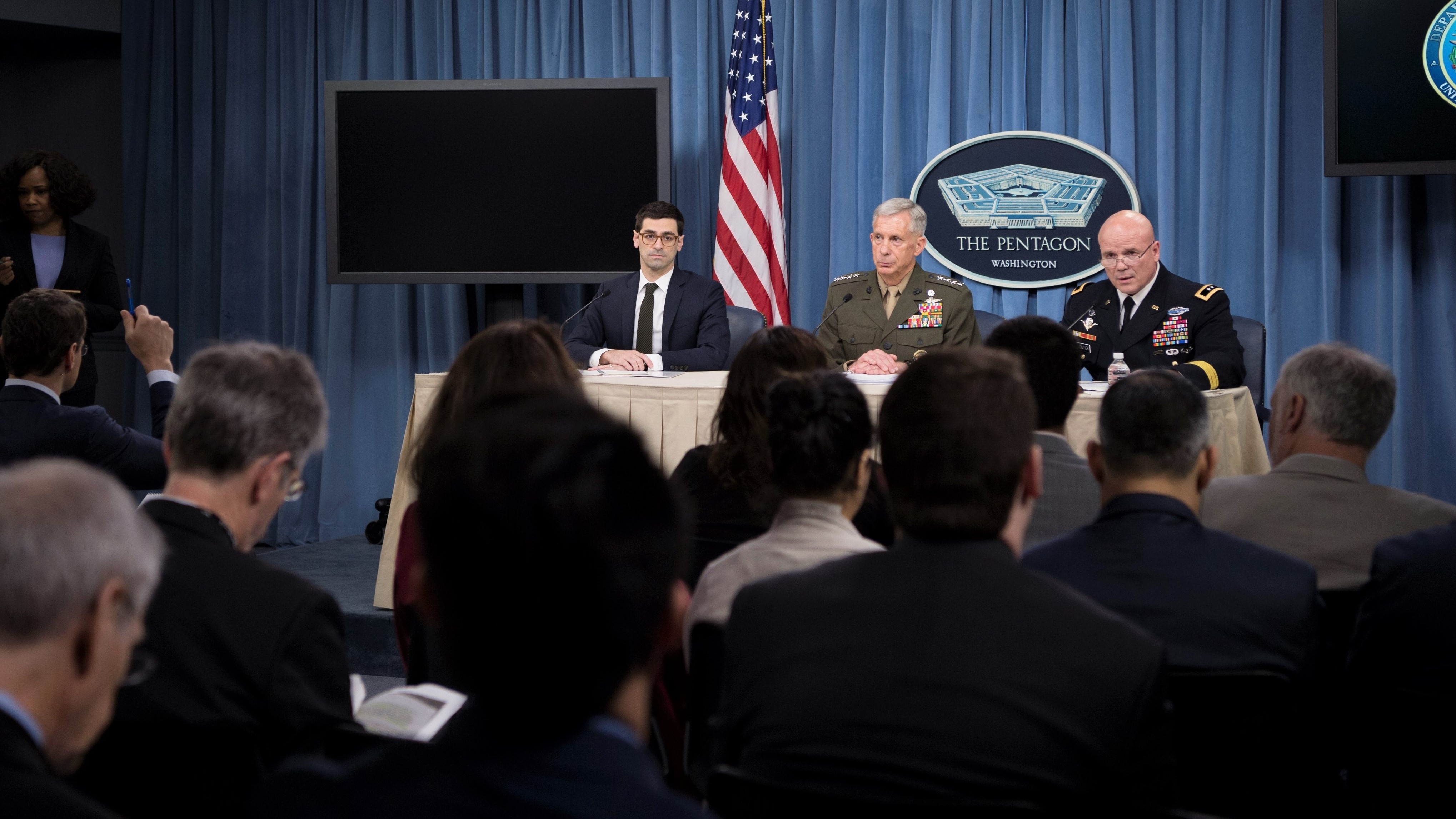 Assistant Secretary of Defense for International Security Affairs Robert S. Karen, Marine Gen. Thomas D. Waldhauser, commander, U.S. Africa Command, and Army Maj. Gen. Roger L. Cloutier Jr., chief of staff, U.S. Africa Command, and lead investigating officer, brief the media on the results of the investigation of the Oct. 4, 2017 ambush in Niger at Pentagon in Washington, D.C., May 10, 2018. (DoD photo by Navy Mass Communication Specialist 1st Class Kathryn E. Holm)