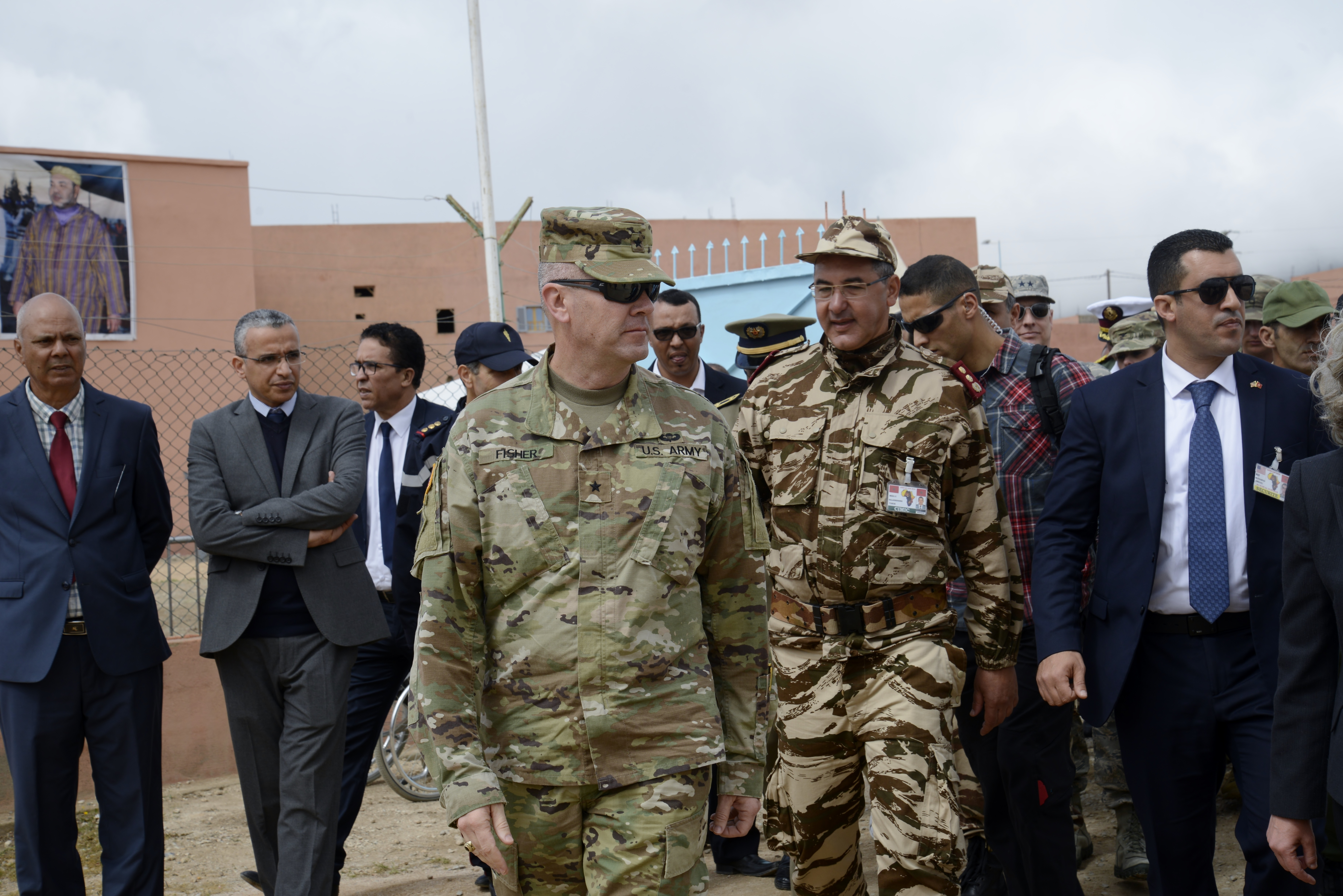 Brigadier General Thomas Fisher, commander of Land Component Command for the Utah Army National Guard, visits the Humanitarian Civic Assistance component of Exercise African Lion 2018 in Bounaamane, Morocco, April 25, 2018.  Exercise African Lion 2018 is a Chairman of the Joint Chiefs of Staff-sponsored, U.S. African Command-scheduled, U.S. Marine Corps Forces Europe and Africa-led, joint and combined exercise conducted in the Kingdom of Morocco. African Lion offers an opportunity to improve interoperability and cooperation while demonstrating the strong military bond that exists between the participating nations. (U.S. Army National Guard photo by Maj. Samantha Madsen)