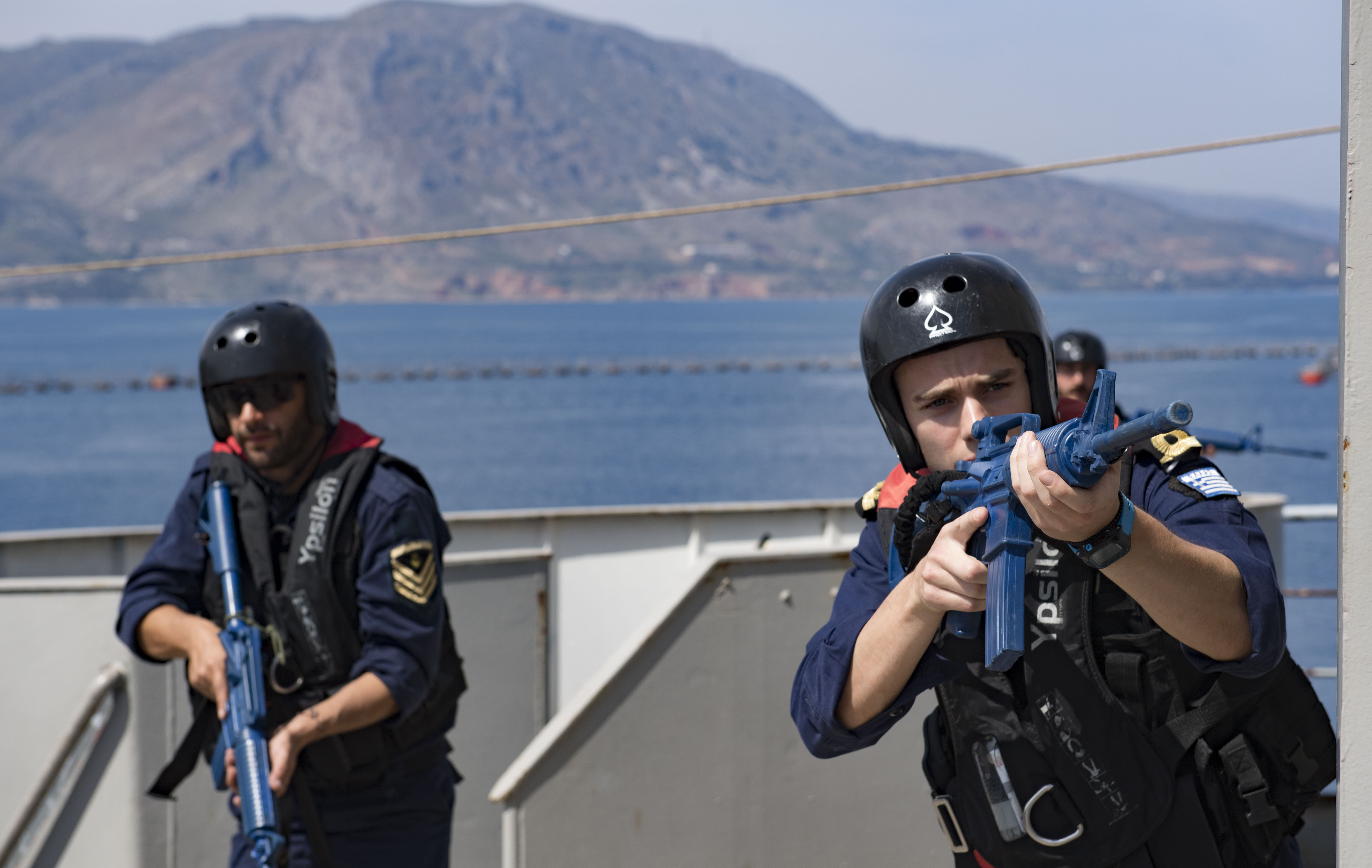 180502-N-UY653-310  SOUDA BAY, Greece (May 2, 2018) Hellenic Navy sailors participate in visit, board, search and seizure training during exercise Phoenix Express 2018, May 2. Phoenix Express is sponsored by U.S. Africa Command and facilitated by U.S. Naval Forces Europe-Africa/U.S. 6th Fleet, and is designed to improve regional cooperation, increase maritime domain awareness information sharing practices, and operational capabilities to enhance efforts to achieve safety and security in the Mediterranean Sea. (U.S. Navy photo by Mass Communication Specialist 2nd Class Ryan U. Kledzik/Released)