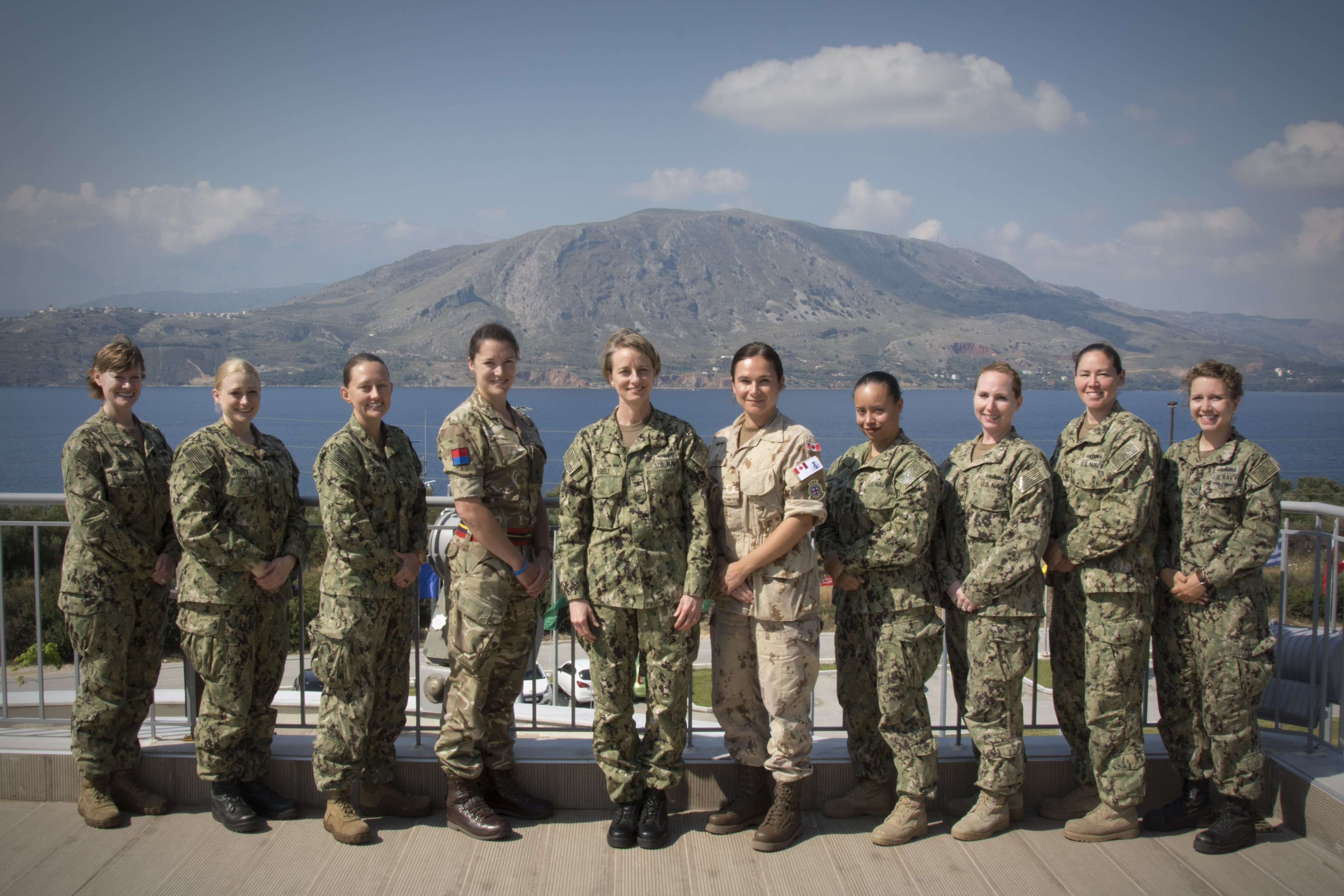 SOUDA BAY, Greece (May 8, 2018) Multinational representation pose for a photo at the NATO Maritime Interdiction Operation Training Center during exercise Phoenix Express in Souda Bay, Greece, May 8, 2018. Phoenix Express is sponsored by U.S. Africa Command and facilitated by U.S. Naval Forces Europe-Africa/U.S. 6th Fleet, and is designed to improve regional cooperation, increase maritime domain to improve regional cooperation, increase maritime domain awareness information-sharing practices, and operational capabilities to enhance efforts to achieve safety and security in the Mediterranean Sea. (U.S. Navy photo by Mass Communication Specialist 2nd Class Beverly J. Taylor/Released)