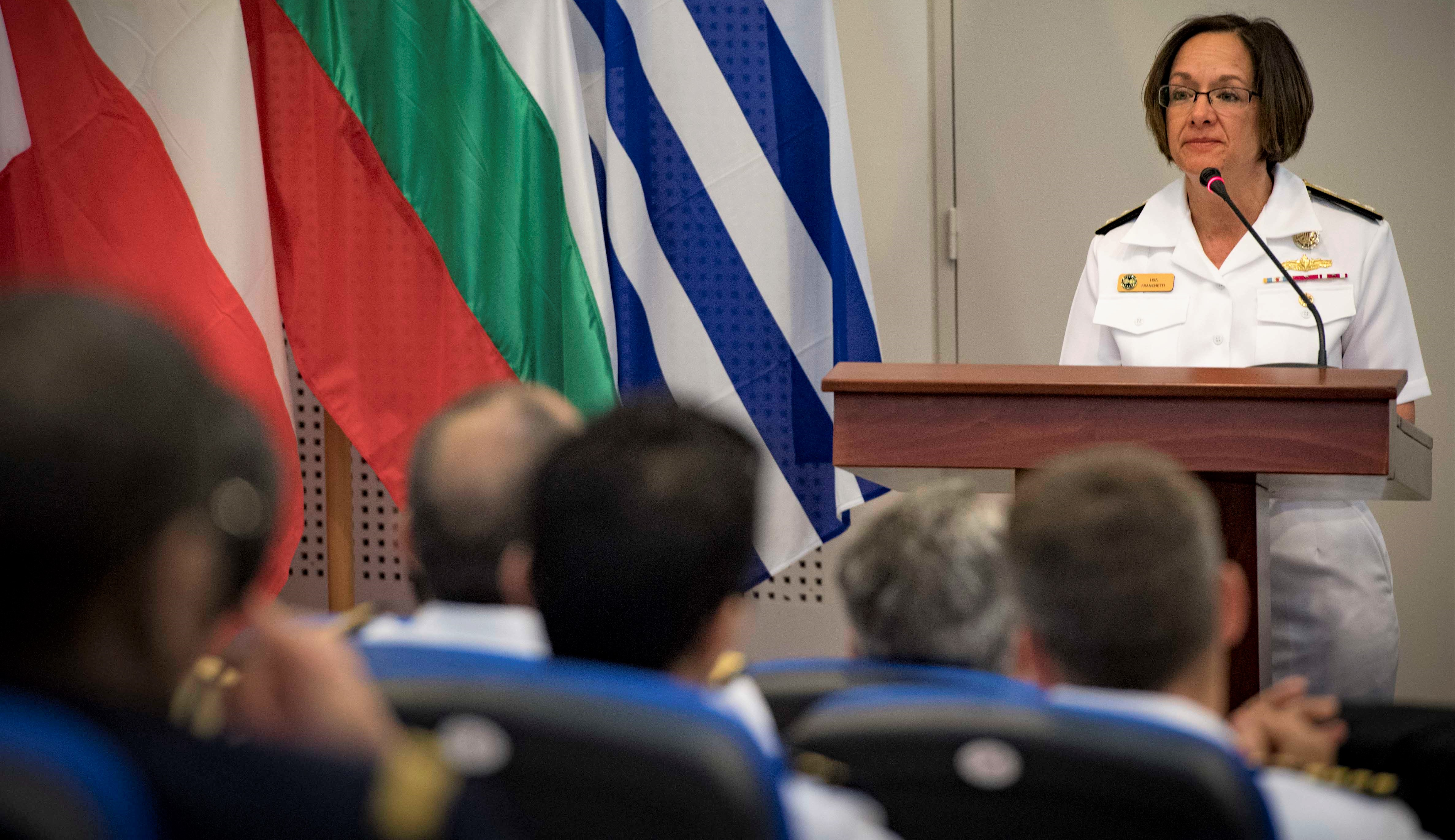 180511-N-UY653-082 MEDITERRANEAN SEA (May 11, 2018) Vice Adm. Lisa Franchetti, commander, U.S. 6th Fleet, delivers remarks during the exercise Phoenix Express 2018 closing ceremony, May 11. Phoenix Express is sponsored by U.S. Africa Command and facilitated by U.S. Naval Forces Europe-Africa/U.S. 6th Fleet, and is designed to improve regional cooperation, increase maritime domain awareness information sharing practices, and operational capabilities to enhance efforts to achieve safety and security in the Mediterranean Sea. (U.S. Navy photo by Mass Communication Specialist 2nd Class Ryan U. Kledzik/Released)
