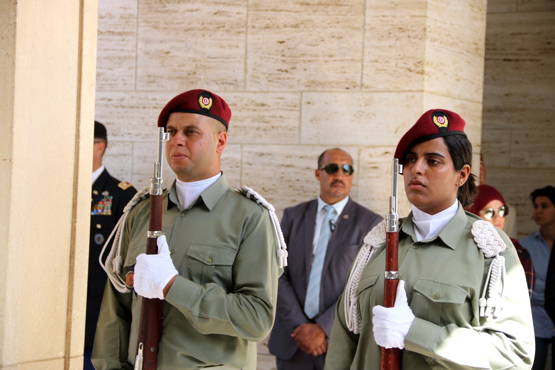 A Tunisian military honor guard stands in formation as part of the Memorial Day ceremony in Carthage, Tunisia, May 28, 2018. (Photo by Zouhaier SFAXI, U.S. Embassy Tunis)