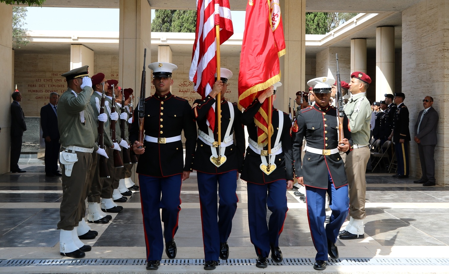 A U.S. Marine Corps honor guard passes in formation as part of the Memorial Day ceremony in Carthage, Tunisia, May 28, 2018. (Photo by Zouhaier SFAXI, U.S. Embassy Tunis)