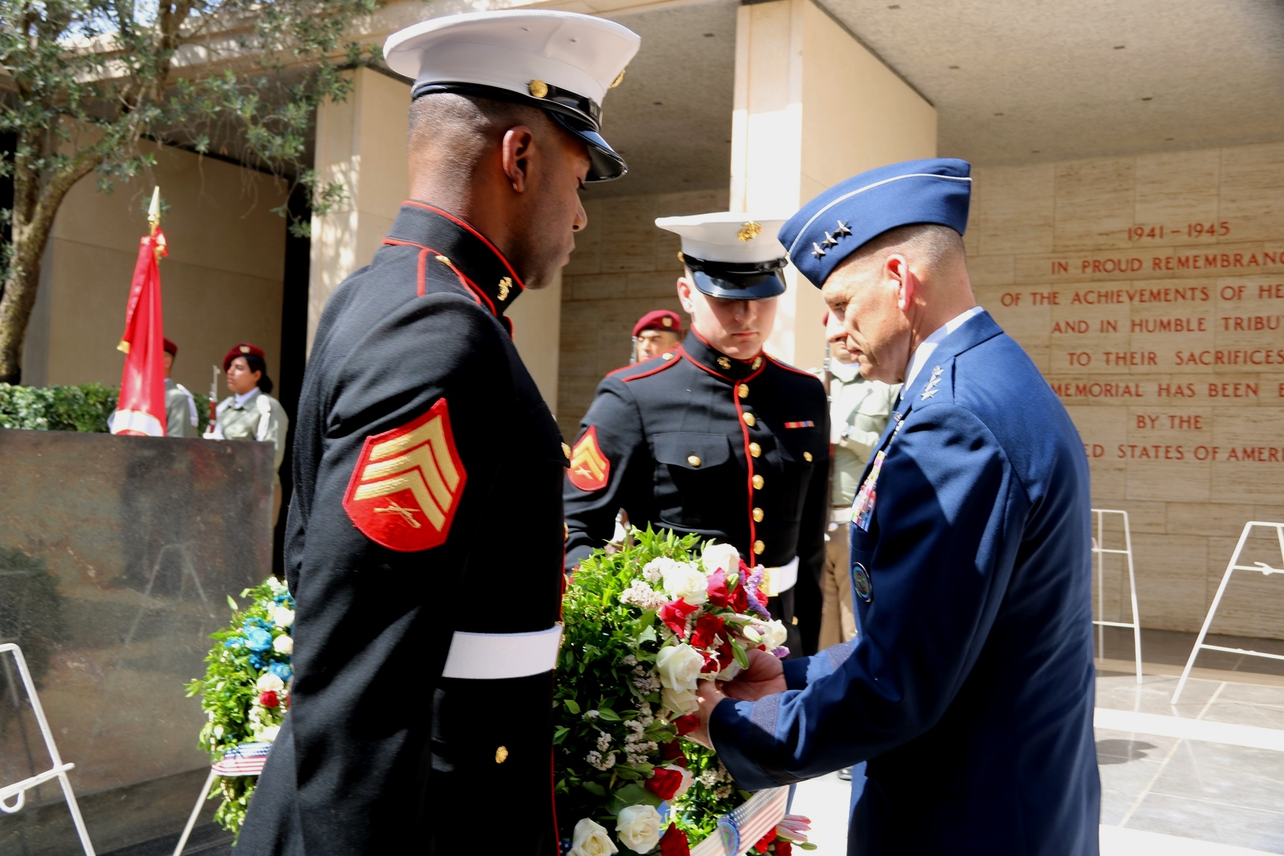 U.S. Air Force Lt. Gen. James C. Vechery, Deputy to the Commander for Military Operations, U.S. Africa Command lays a wreath to honor American servicemen during the Memorial Day ceremony in Carthage, Tunisia, May 28, 2018. (Photo by Zouhaier SFAXI, U.S. Embassy Tunis)