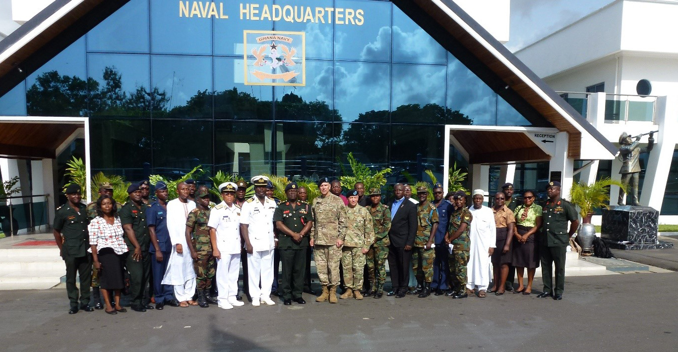 U.S. Army Africa chaplains joined forty Ghanaian chaplains, imams and religious specialists at a military-to-military chaplain engagement at the Ghana Naval Headquarters in Accra, Ghana, April 23-26, 2018. The purpose of the event, which culminated in a day of preparatory exercise interaction, was to plan and prepare for the United Accord training series, scheduled to take place in July. (Courtesy photo)