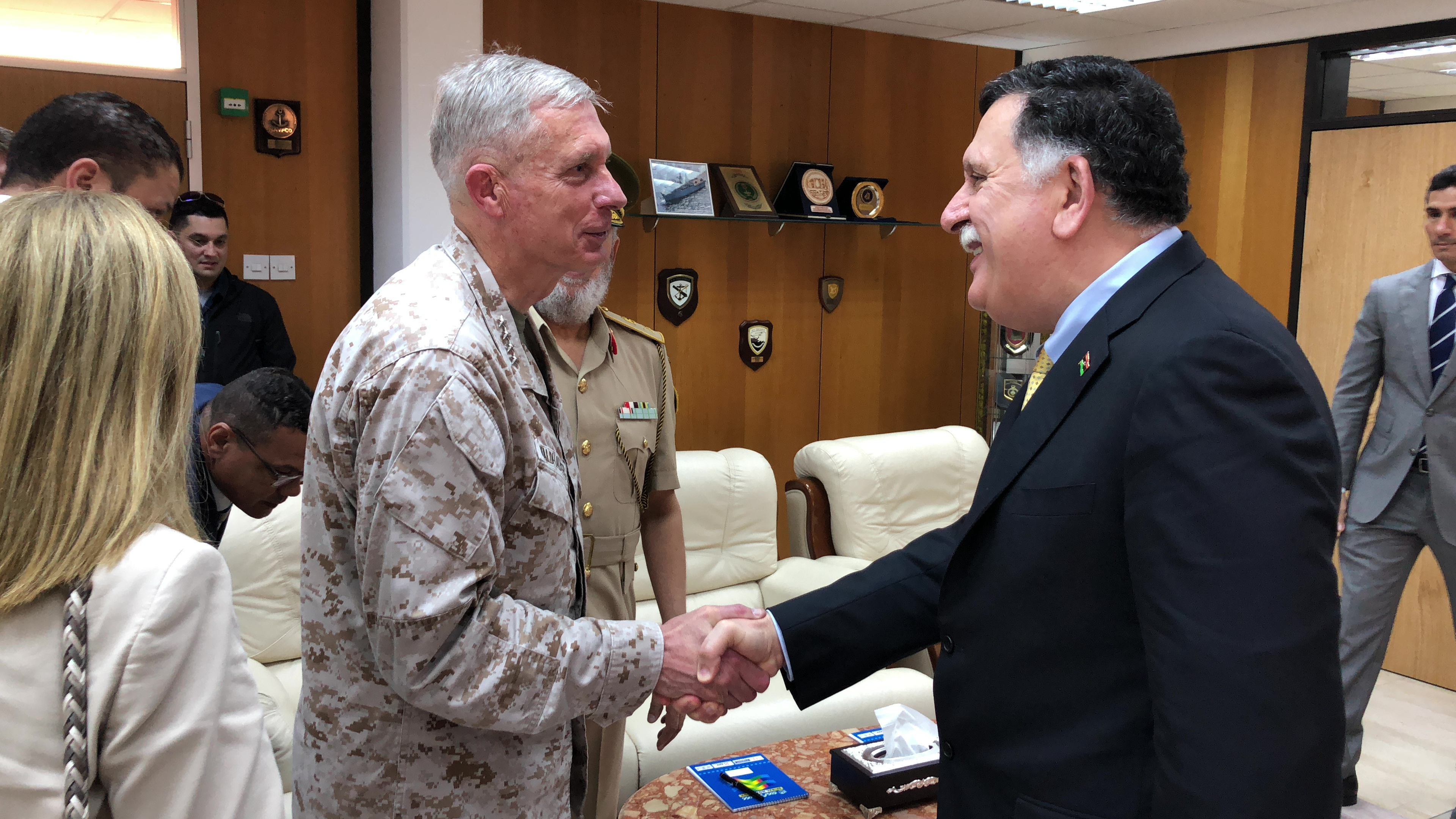 U.S. Marine Corps Gen. Thomas Waldhauser, Commander, U.S. Africa Command, meets with Libya's Government of National Accord Prime Minister Fayez al-Sarraj in Tripoli May 31, 2018.