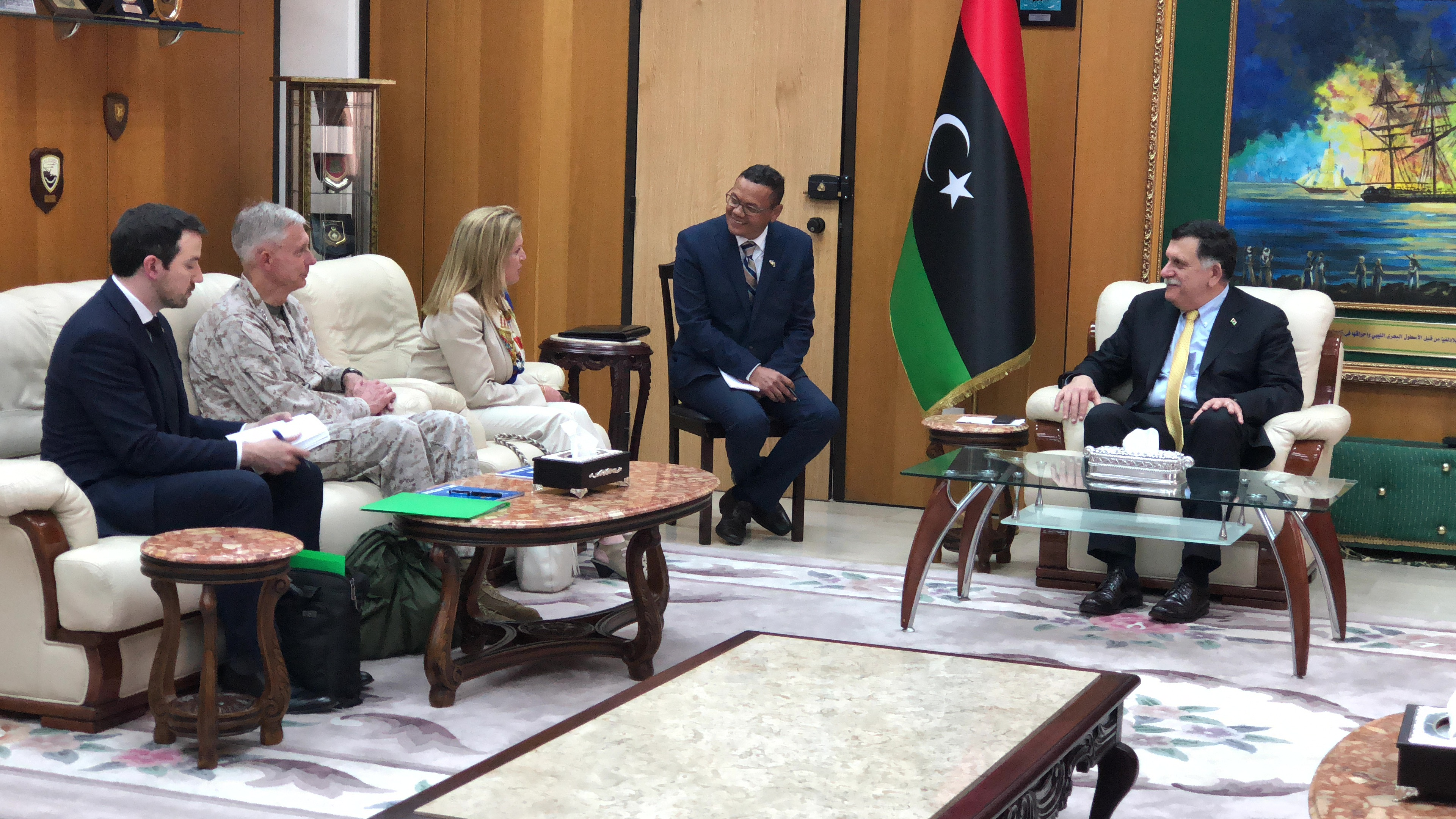Stephanie Williams, Chargé d'Affaires, a.i. for the U.S. Department of State's Libya External Office, and U.S. Marine Corps Gen. Thomas Waldhauser, Commander, U.S. Africa Command, met with Libya's Government of National Accord Prime Minister Fayez al-Sarraj in Tripoli on May 31, 2018.