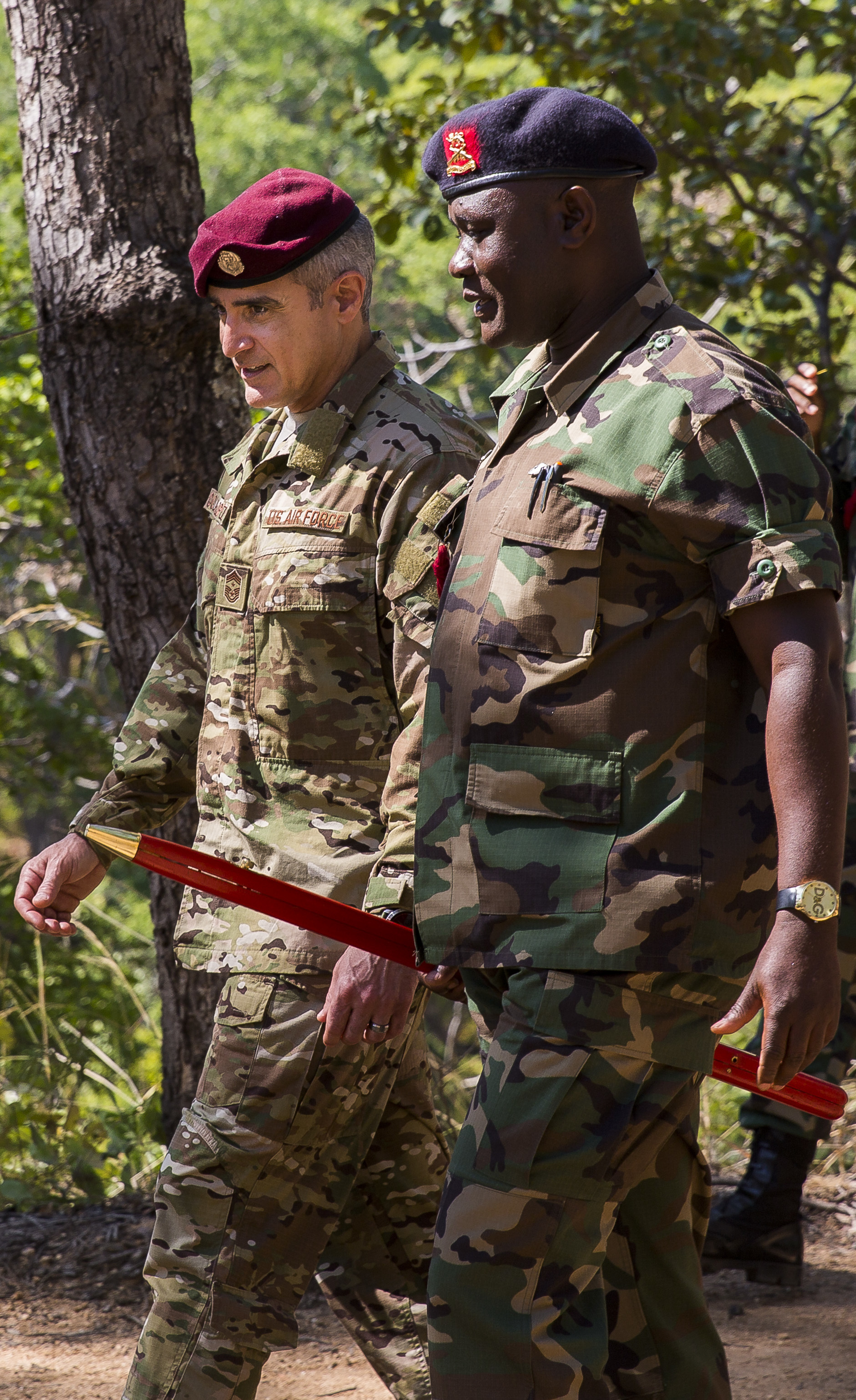 U.S. Africa Command Senior Enlisted Leader Command Chief Master Sgt. Ramon Colon-Lopez walks with Malawi Defence Force's Senior Enlisted Leader Warrant Officer First Class George Bisalomu to observe the final Malawi Battalion Training Course exercise before graduation, May 31, 2018. Colon-Lopez travelled to Malawi to meet with the Malawi Defence Force, engaging with both senior officer and enlisted leadership as part of a three-day tour. The visit included a follow-up on issues addressed by the MDF during the Africa Senior Enlisted Leader Conference in November 2017, as well as assess the MDF's capability to train and sustain Peace Keeping Operations Forces.