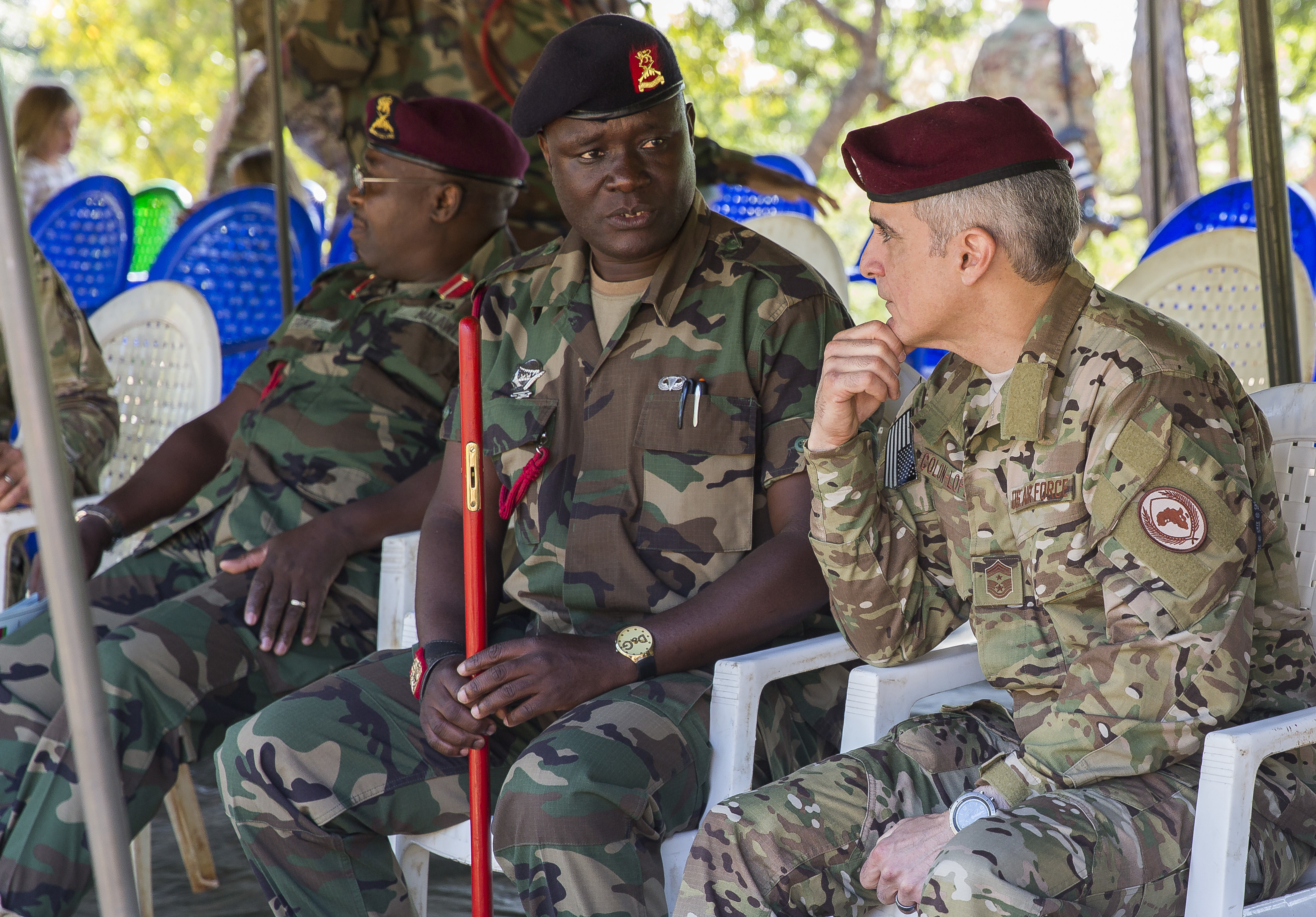 U.S. Africa Command Senior Enlisted Leader Command Chief Master Sgt. Ramon Colon-Lopez meets and discusses with key Malawi Defence Force leadership at the Malawi Battalion Training Site, May 31, 2018. Leadership sat together and witnessed the final MALBAT exercise and graduation ceremony as dozens of MDF soldiers prepare for deployment. Colon-Lopez travelled to Malawi to meet with the Malawi Defence Force, engaging with both senior officer and enlisted leadership as part of a three-day tour. The visit included a follow-up on issues addressed by the MDF during the Africa Senior Enlisted Leader Conference in November 2017, as well as assess the MDF's capability to train and sustain Peace Keeping Operations Forces.