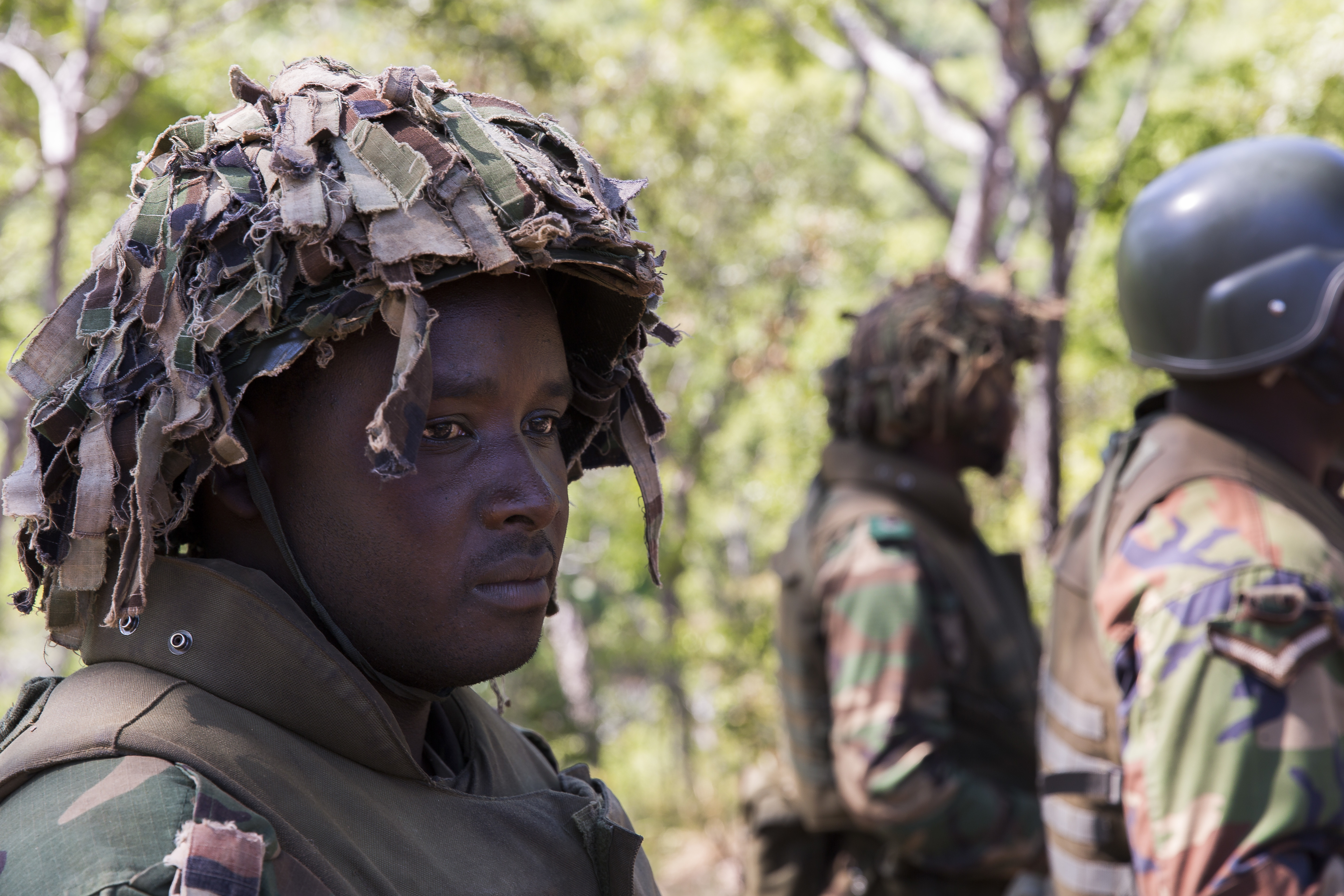 A soldier from the Malawi Defence Force stands in formation while graduating the Malawi Battalion Training Course in Malawi, Africa, May 31, 2018. U.S. Africa Command Senior Enlisted Leader Command Chief Master Sgt. Ramon Colon-Lopez and his team traveled to the MALBAT Training Site to follow-up on issues addressed by the MDF during the Africa Senior Enlisted Leader Conference in November 2017, and to assess the MDF's capability to train and sustain Peace Keeping Operations Forces.
