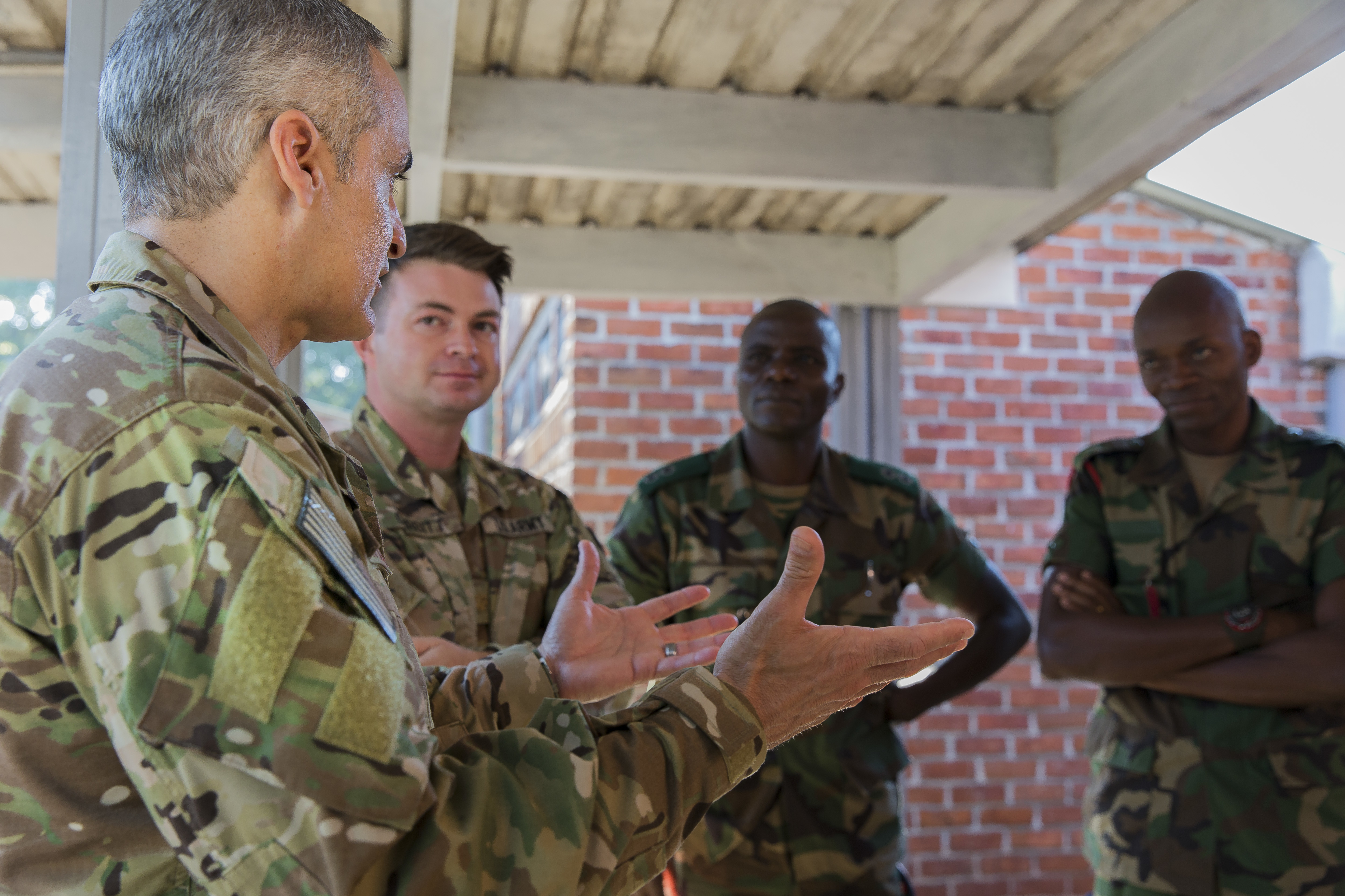 U.S. Africa Command Senior Enlisted Leader Command Chief Master Sgt. Ramon Colon-Lopez meets with key leadership at the Malawi Armed Forces College Sergeant Major Academy in Malawi, Africa, June 1, 2018. Colon-Lopez travelled to Malawi to meet with the Malawi Defence Force, engaging with both senior officer and enlisted leadership as part of a three-day tour. The visit included a follow-up on issues addressed by the MDF during the Africa Senior Enlisted Leader Conference in November 2017, as well as assess the MDF's capability to train and sustain Peace Keeping Operations Forces.