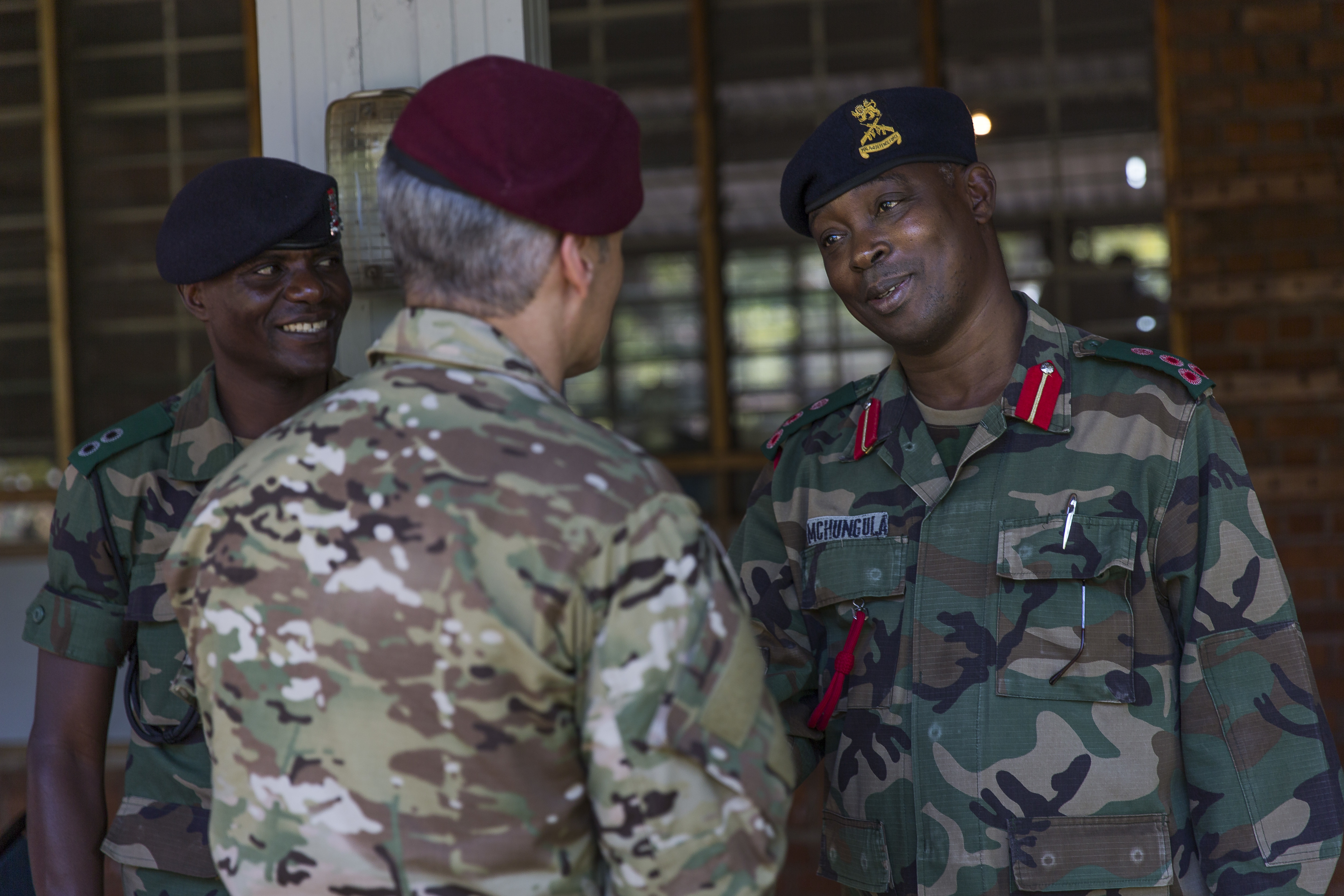 U.S. Africa Command Senior Enlisted Leader Command Chief Master Sgt. Ramon Colon-Lopez says goodbye to the Malawi Armed Forces College Commandant Brigadier General Swithun Mchungula after a three-day visit to Malawi, Africa, June 1, 2018. Colon-Lopez travelled to Malawi to meet with the Malawi Defence Force, engaging with both senior officer and enlisted leadership as part of a three-day tour. The visit included a follow-up on issues addressed by the MDF during the Africa Senior Enlisted Leader Conference in November 2017, as well as an assessment of the MDF's capability to train and sustain Peace Keeping Operations Forces.