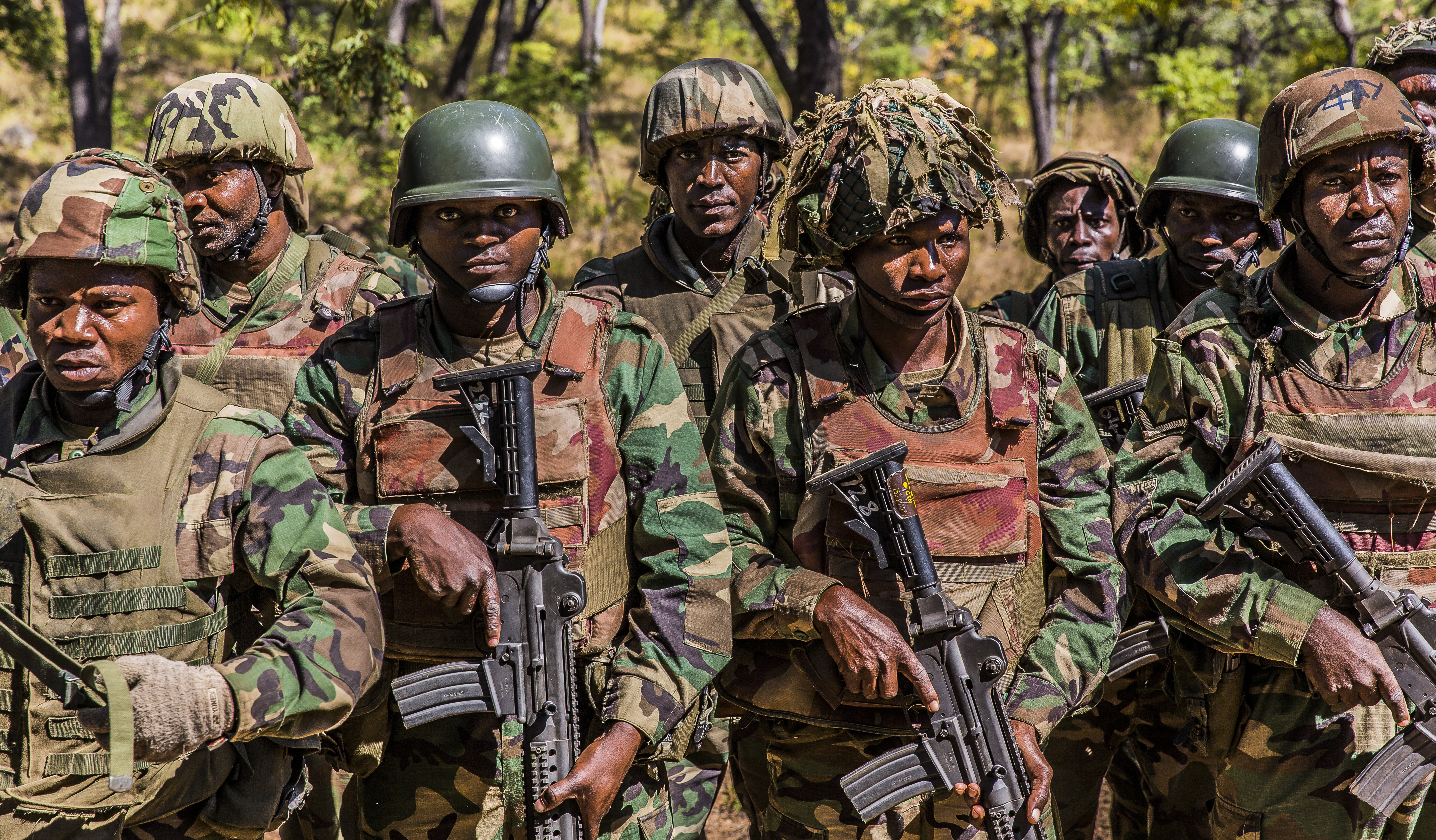 Soldiers from the Malawi Defence Force stand in formation while graduating the Malawi Battalion Training Course, May 31, 2018. U.S. Africa Command Senior Enlisted Leader Command Chief Master Sgt. Ramon Colon-Lopez and his team traveled to the MALBAT Training Site to follow-up on issues addressed by the MDF during the Africa Senior Enlisted Leader Conference in November 2017, and to assess the MDF's capability to train and sustain Peace Keeping Operations Forces.