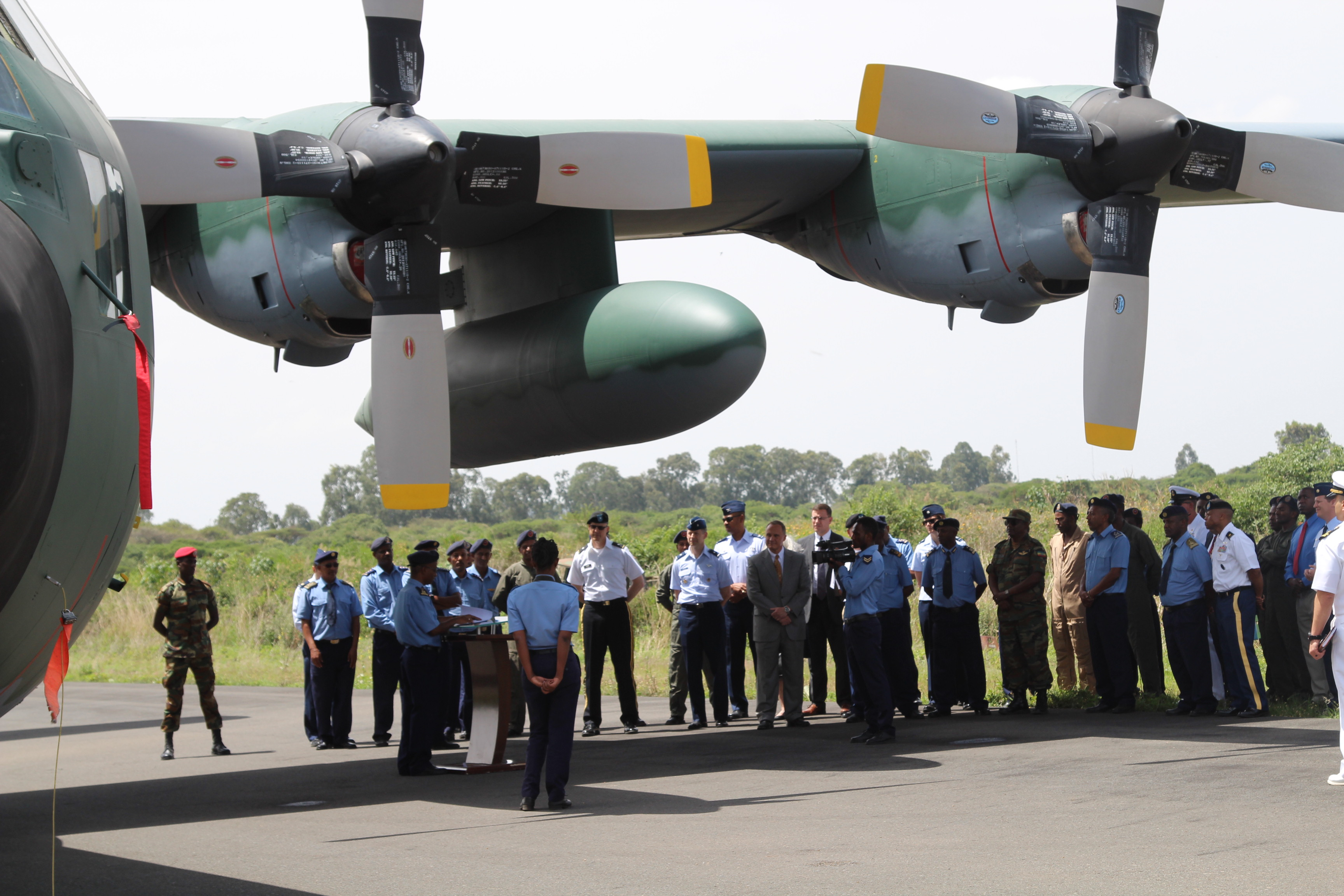 ADDIS ABABA -The U.S. delivered a C-130E Hercules transport aircraft to the Ethiopian Air Force, during a ceremony,  June 7, 2018, in Addis Ababa. The purpose of the aircraft is to enhance Ethiopia's capacity to move humanitarian supplies where they are needed in a timely manner during regional peacekeeping missions. (Photos courtesy of the U.S. Embassy - Ethiopia)