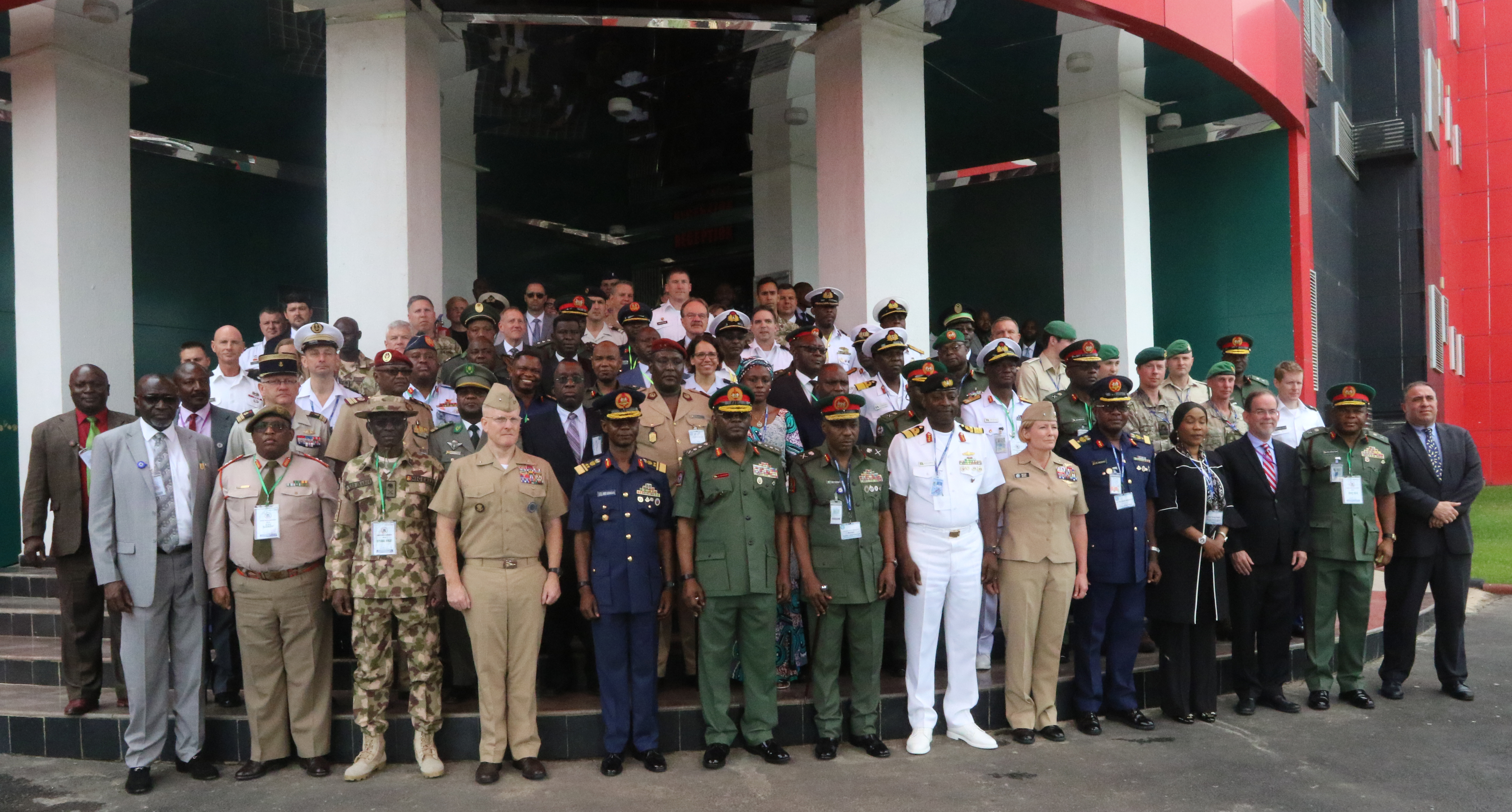 ABUJA, Nigeria – Attendees pose for a group photo during the Lake Chad Basin Directors of Military Intelligence Conference June 19, 2018 in Abuja, Nigeria.