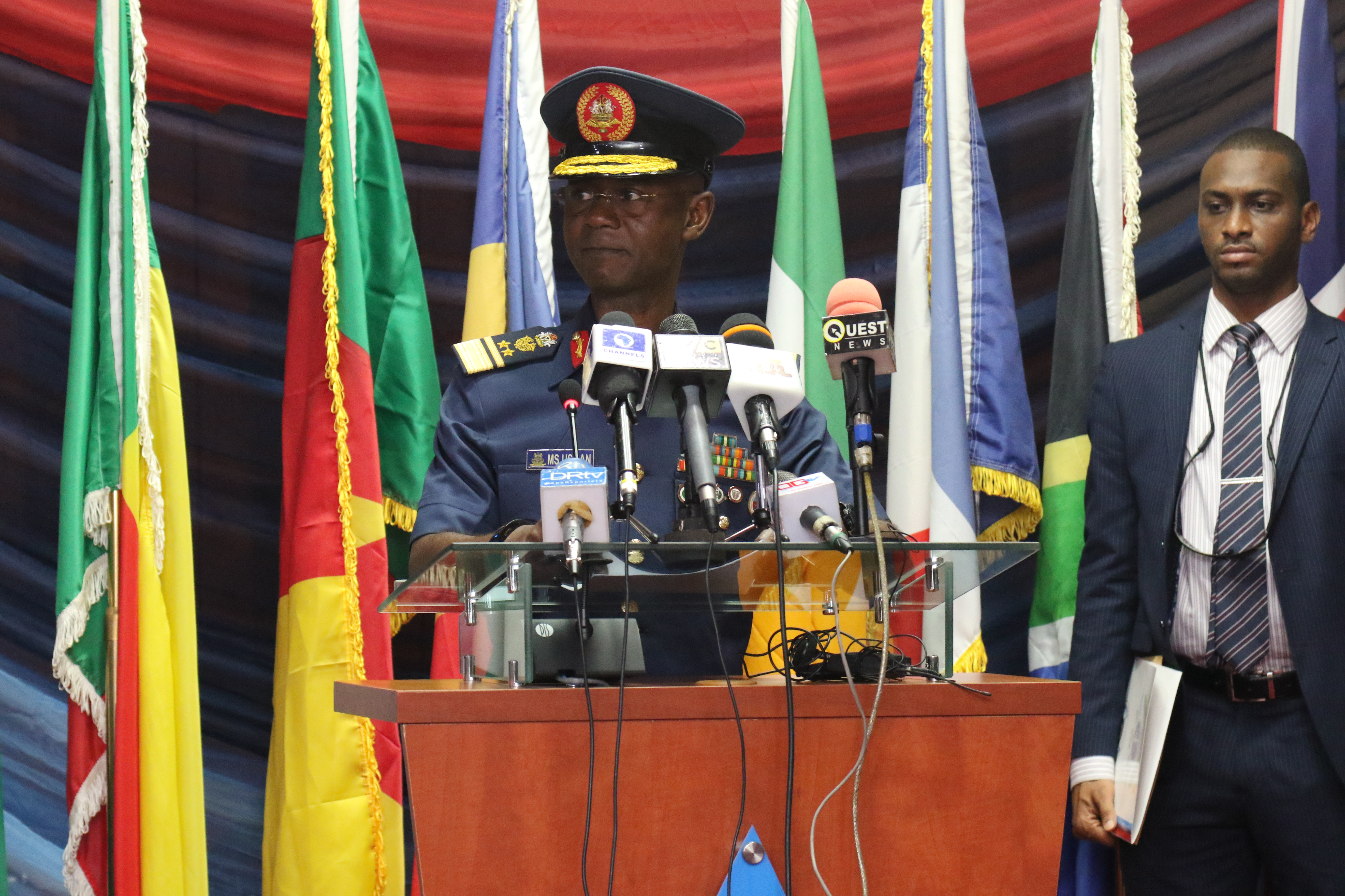 ABUJA, Nigeria – Air Vice Marshall M.S. Usman, Nigerian Chief of Defense Intelligence, delivers remarks during the opening ceremony of the Lake Chad Basin Directors of Military Intelligence Conference June 19, 2018 in Abuja, Nigeria.