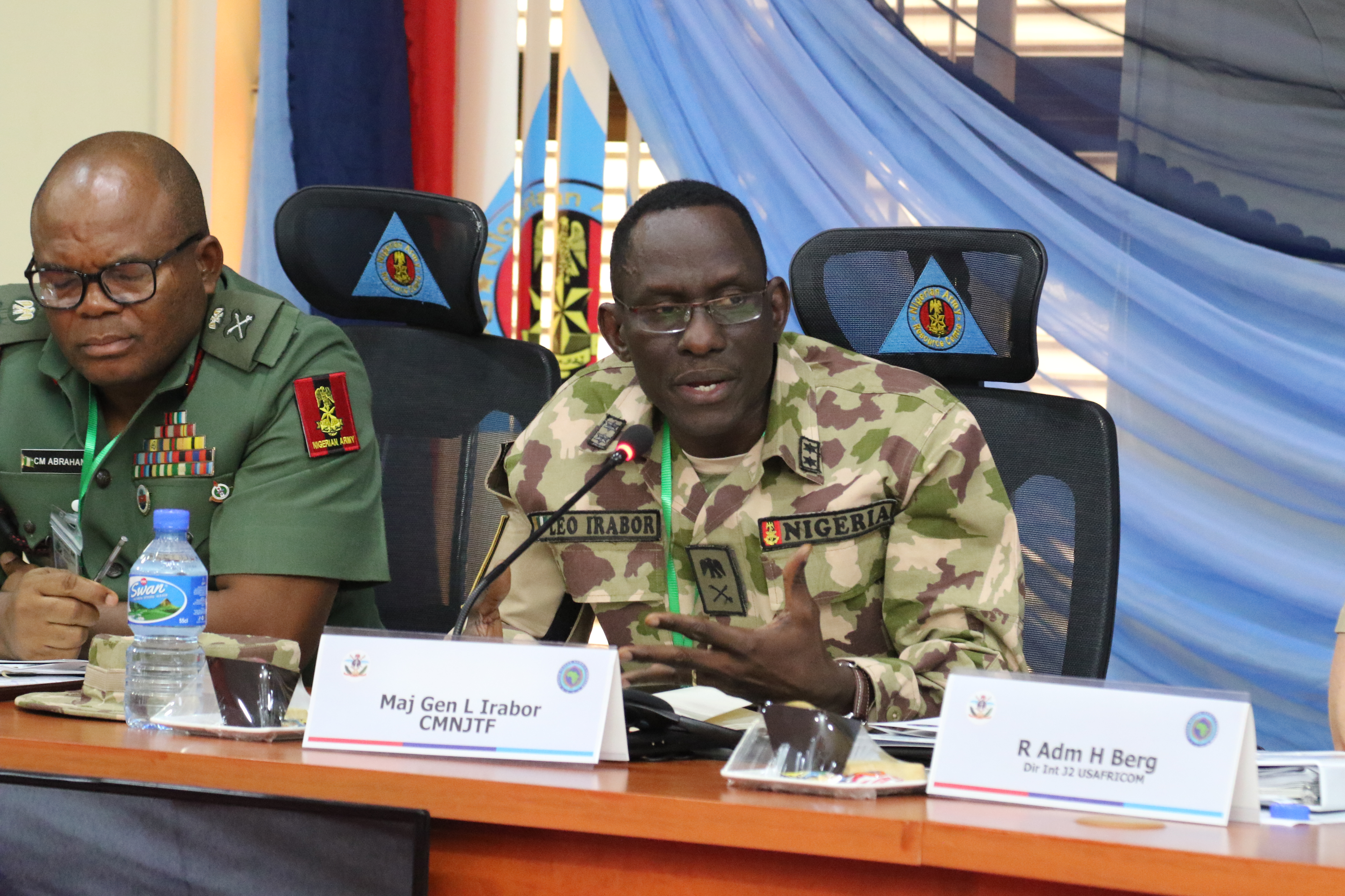 ABUJA, Nigeria – Nigerian Maj. Gen. Leo Irabor, Multinational Joint Task Force commander, participates in discussion during the Lake Chad Basin Directors of Military Intelligence Conference June 19, 2018 in Abuja, Nigeria.