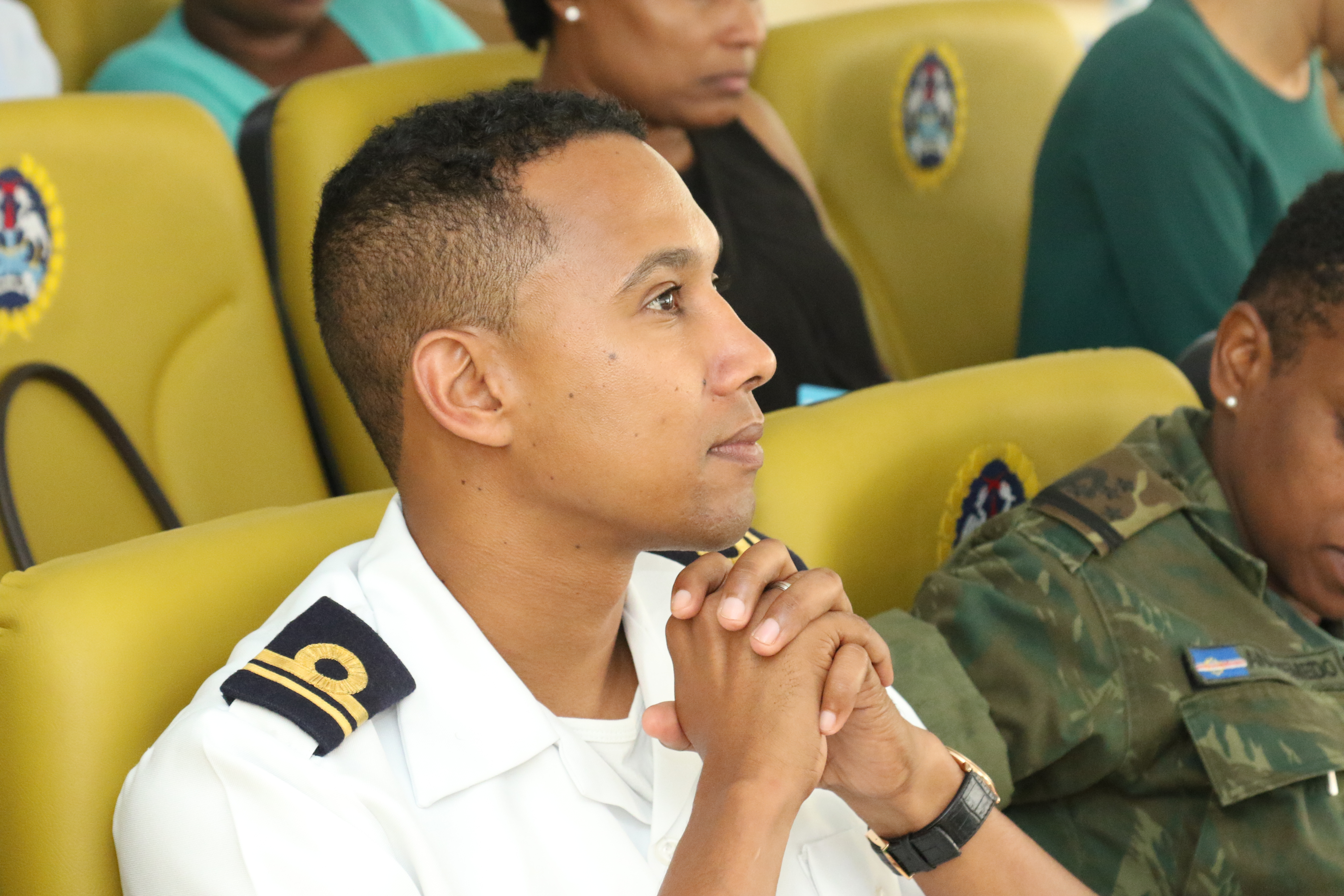 PRAIA, Cabo Verde – Cabo Verdean Lt. Areolino Delgado, commanding officer of coast guard patrol boat, listens during the public affairs information exchange in Praia, Cabo Verde June 28, 2018.