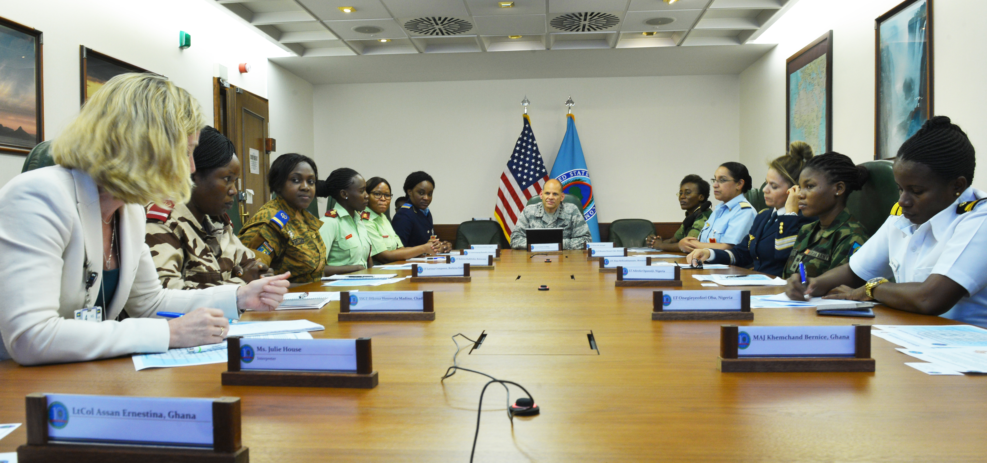 STUTTGART, Germany – Air Force Lt. Gen. James Vechery, Deputy to the Commander for Military Operations, U.S. Africa Command, speaks to attendees of the AFRICOM Women's Communication Symposium – 2018, at AFRICOM Headquarters, Kelly Barracks, June 25, 2018. The event hosted delegation of 14 women military signal communicators from African partner nations, under the command's Women's Military-to-Military Engagement Program. (Photo by Army Staff Sgt. Grady Jones, AFRICOM Public Affairs)