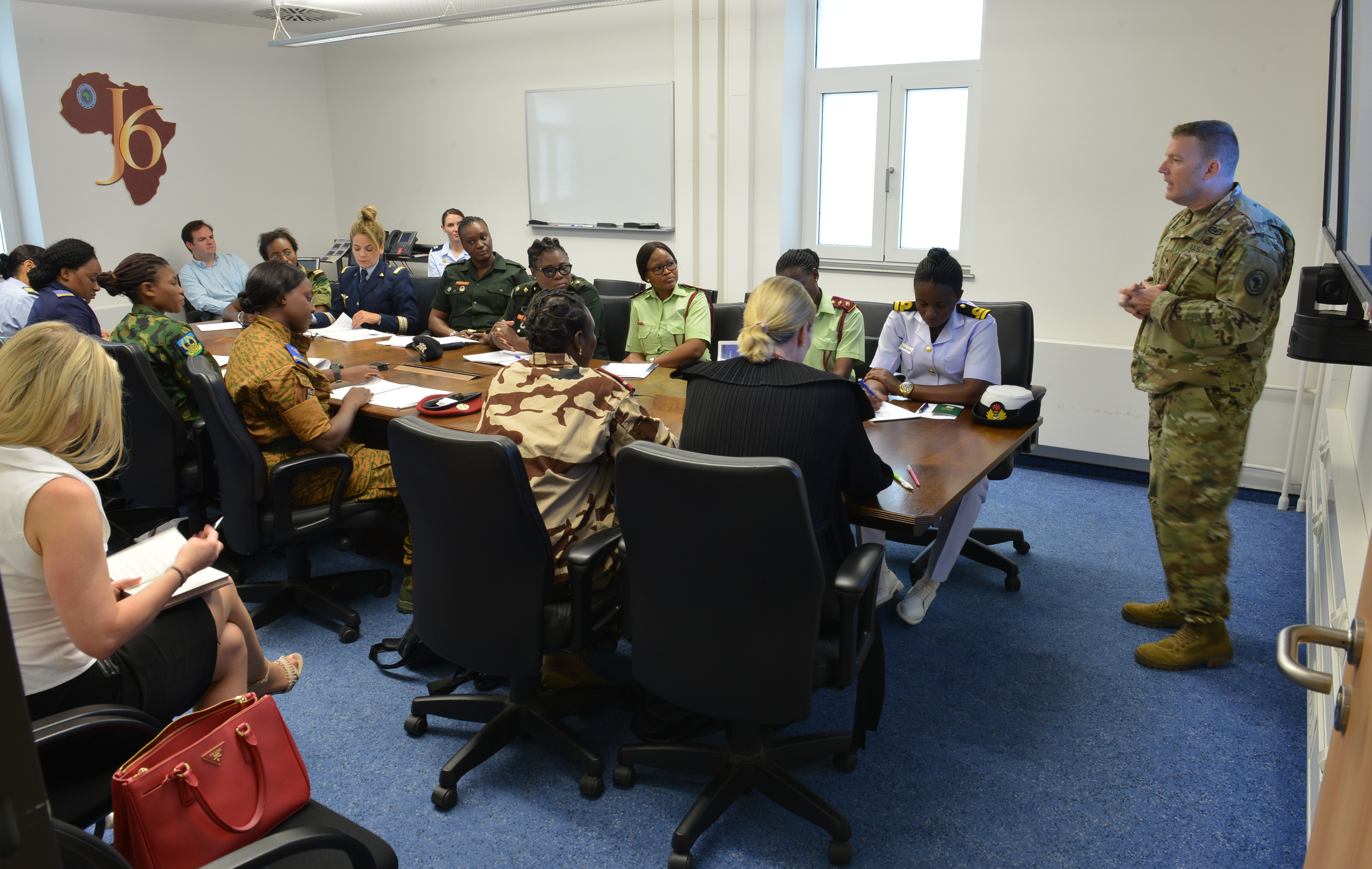 STUTTGART, Germany – Brig. Gen. Christopher Eubank, director, Directorate of Command, Control, Communications and Computer Systems (C4)/ J6, U.S. Africa Command speaks to attendees of the AFRICOM Women's Communication Symposium – 2018, at AFRICOM Headquarters, Kelly Barracks, June 25, 2018. The event hosted delegation of 14 women military signal communicators from African partner nations, under the command's Women's Military-to-Military Engagement Program. (Photo by Army Staff Sgt. Grady Jones, AFRICOM Public Affairs)
