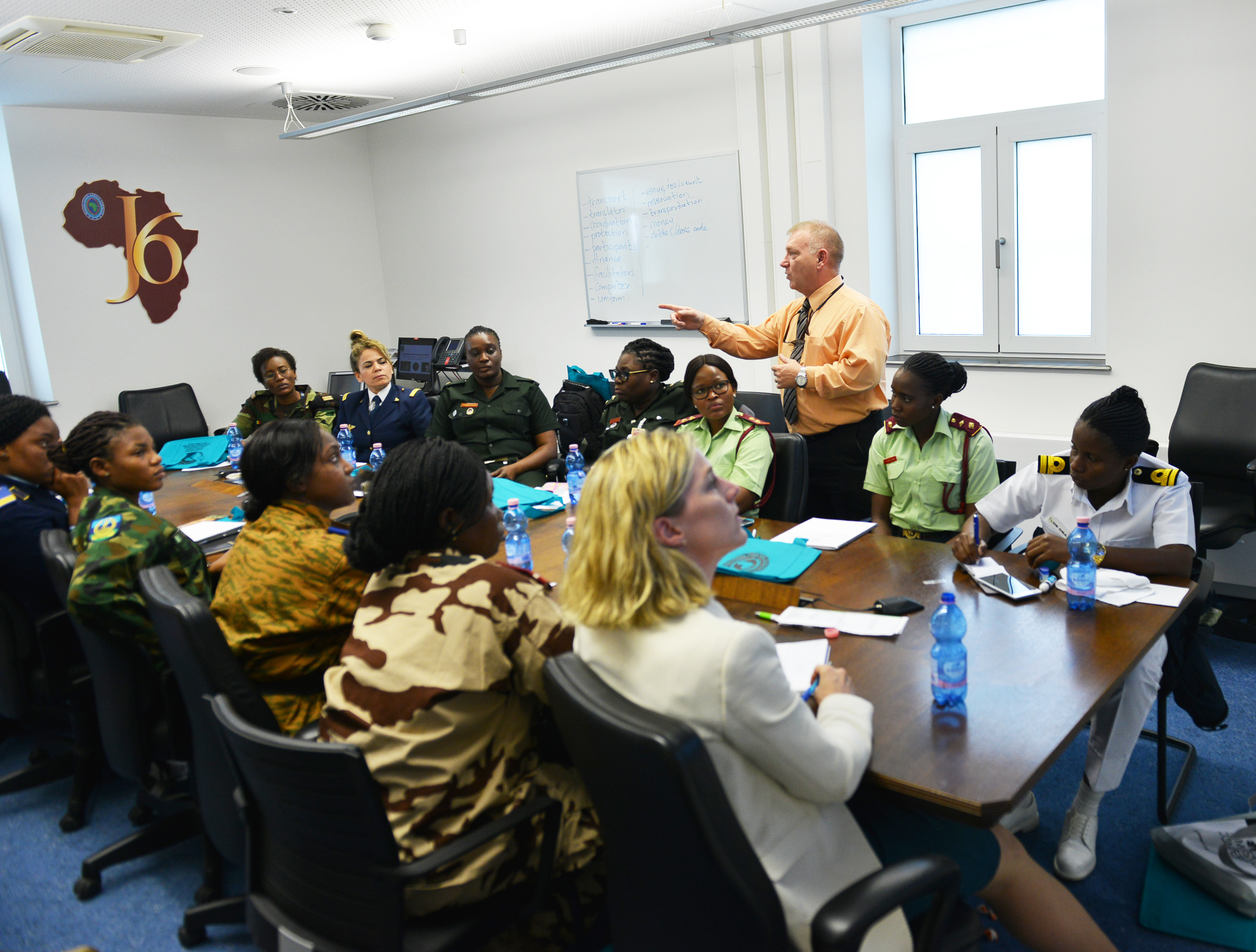 STUTTGART, Germany – Jonathan Trussell, Program Coordinator for the Equal Opportunity and Sexual Harassment and Assault Response Programs, U.S. Africa Command, speaks to attendees of the AFRICOM Women's Communication Symposium – 2018, at AFRICOM Headquarters, Kelly Barracks, June 25, 2018. The event hosted delegation of 14 women military signal communicators from African partner nations, under the command's Women's Military-to-Military Engagement Program. (Photo by Army Staff Sgt. Grady Jones, AFRICOM Public Affairs)
