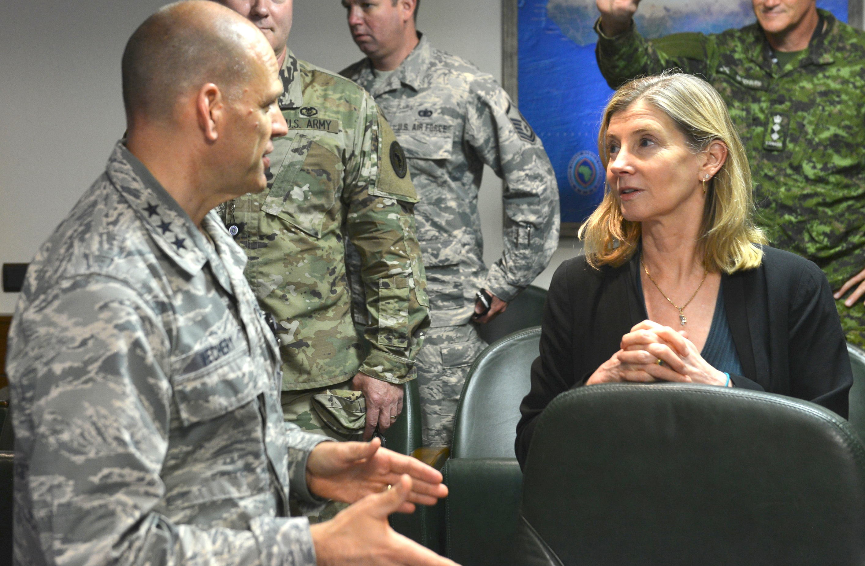 STUTTGART, Germany – The United States Institute of Peace President, Nancy Lindborg, speaks with Air Force Lt. Gen. James Vechery, deputy to the commander for military operations, U.S. Africa Command during her visit to the command's headquarters, Stuttgart, Germany. (Photo by Army Staff Sgt. Grady Jones, AFRICOM Public Affairs)