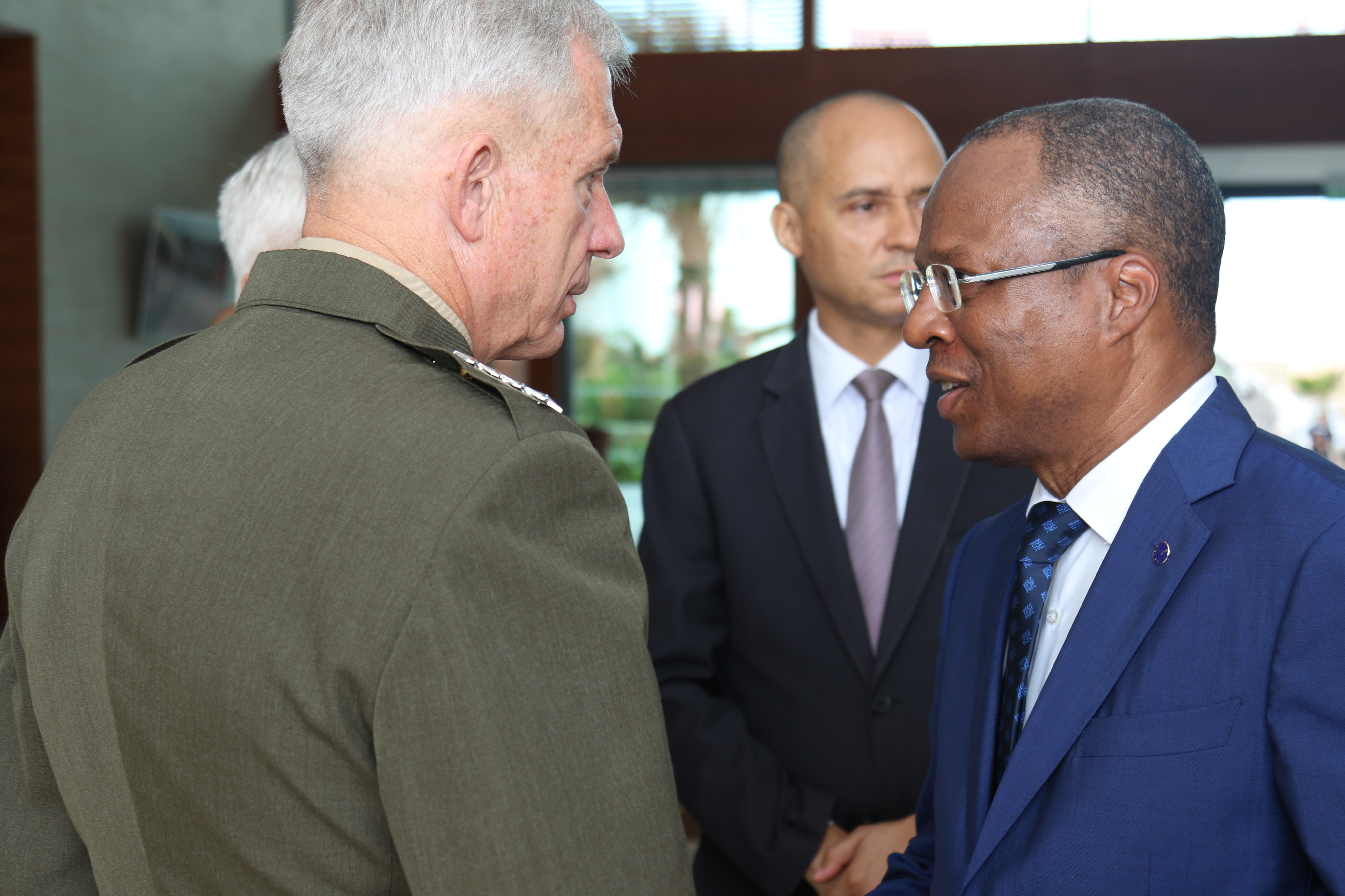 U.S. Marine Corps Gen. Thomas D. Waldhauser shakes hands with Dr. Ulisses Correia e Silva, Cabo Verde Prime Minister after the opening ceremony of Africa Endeavor 2018 July 30, 2018 in Santa Maria, Sal, Cabo Verde.