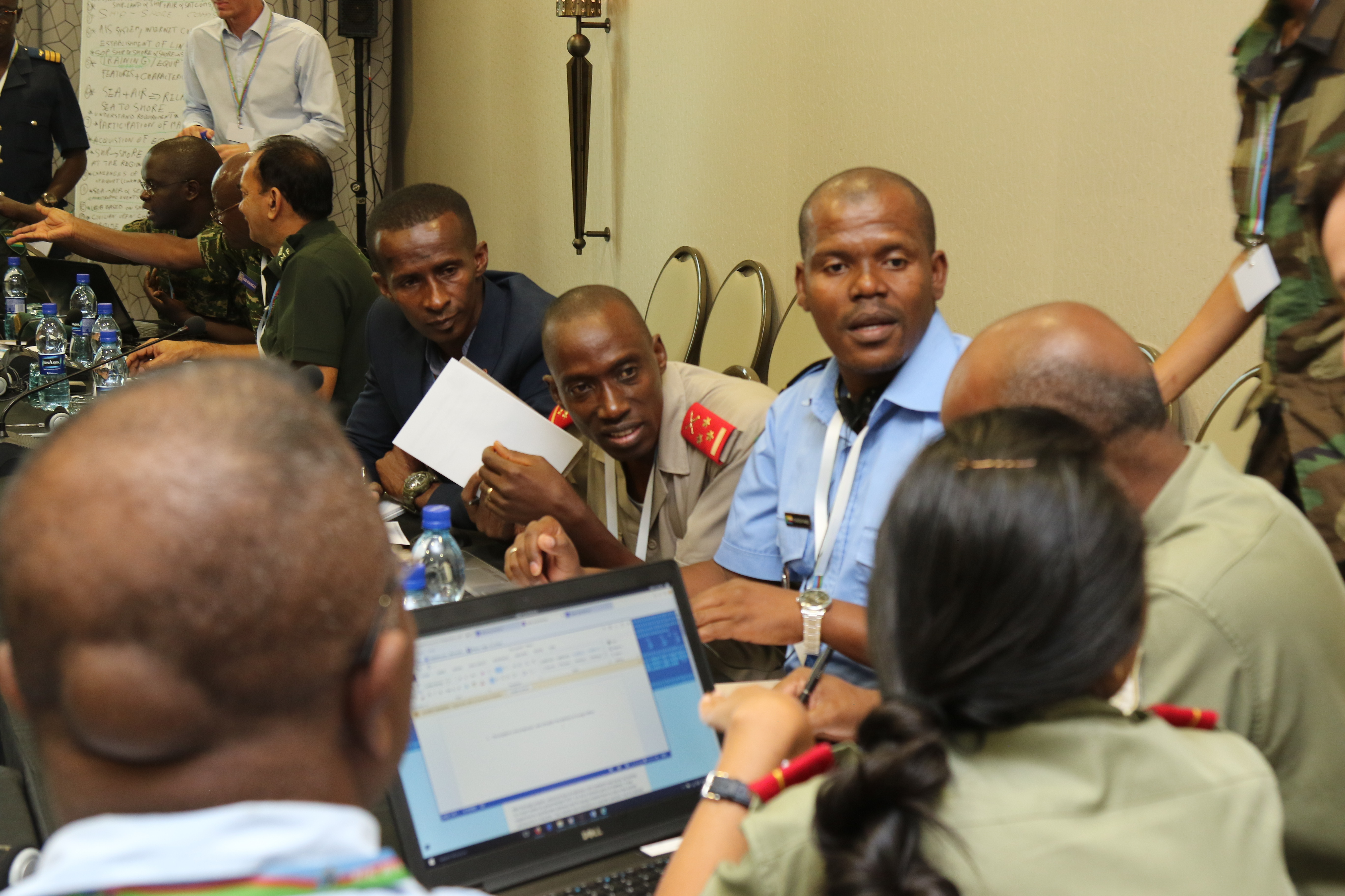 Africa Endeavor participants conduct a cyber security tabletop exercise Aug. 2, 2018 in Santa Maria, Sal, Cabo Verde. Africa Endeavor is an annual senior leader and communications symposium designed to counter violent extremist organization operations mandated by African Union and the United Nations.
