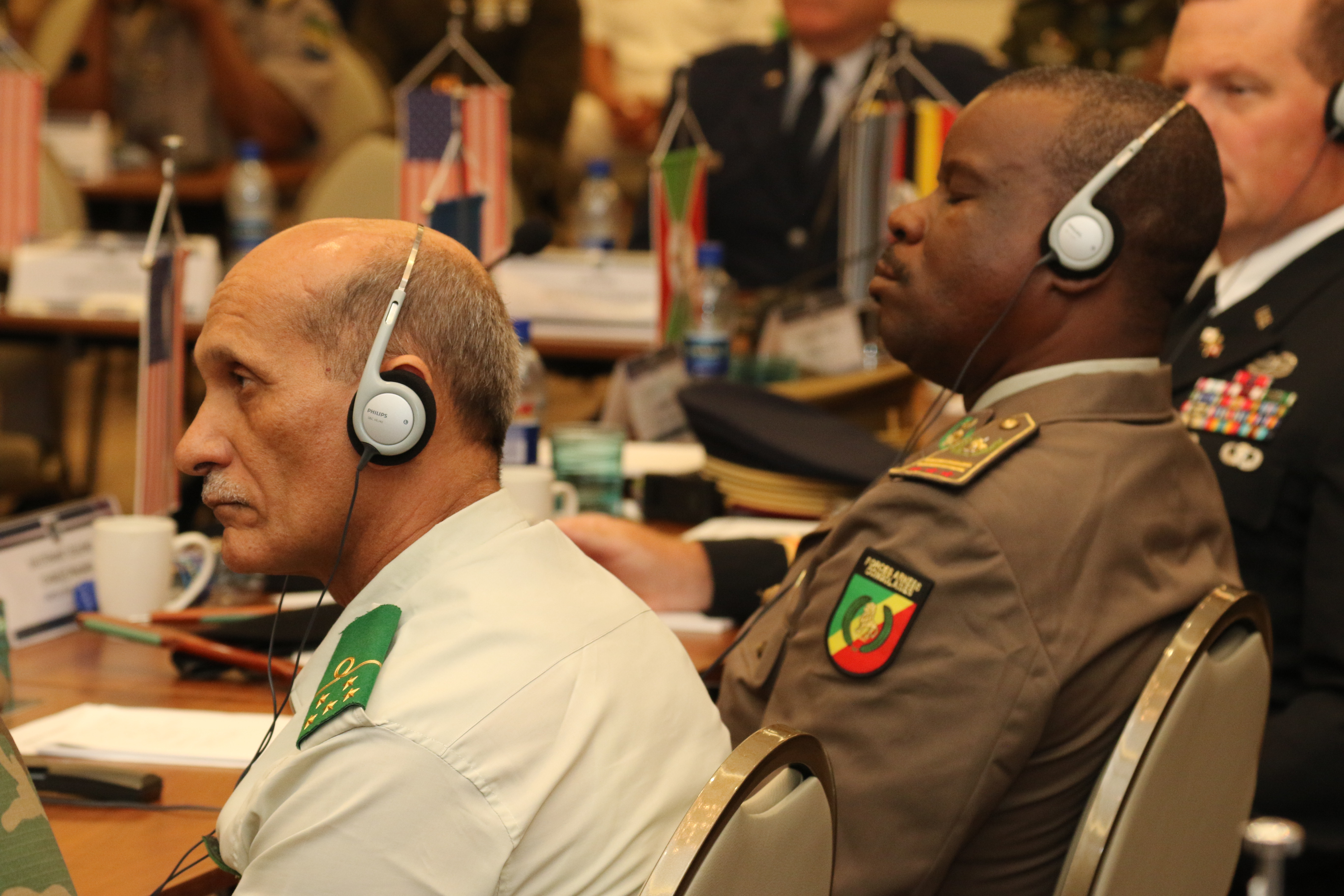 Participants take part in the closing ceremony of Africa Endeavor 2018 Aug. 3 in Santa Maria, Sal, Cabo Verde. Africa Endeavor is an annual senior leader and communications symposium designed to help develop multinational practices for peacekeeping, disaster response and counter violent extremist organization operations mandated by the African Union and the United Nations.